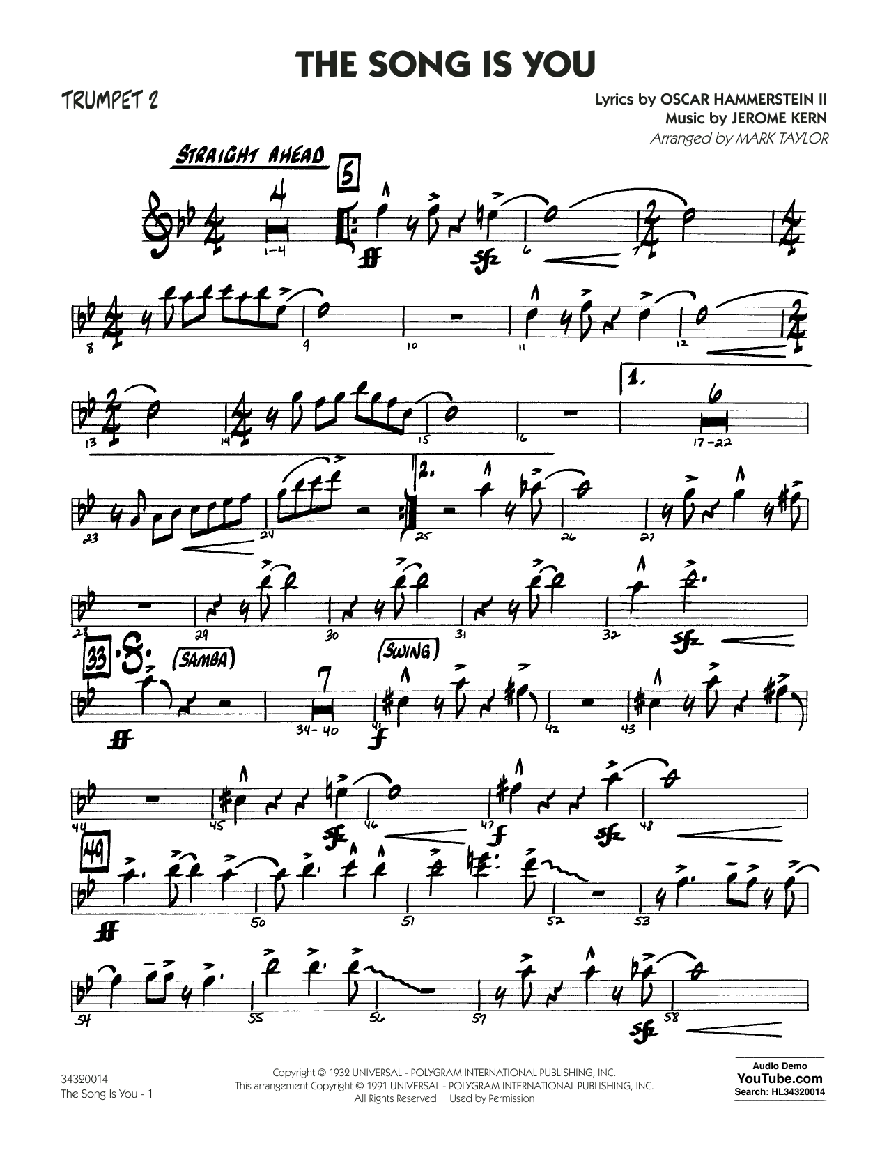 Oscar Hammerstein II - The Song Is You - Trumpet 2