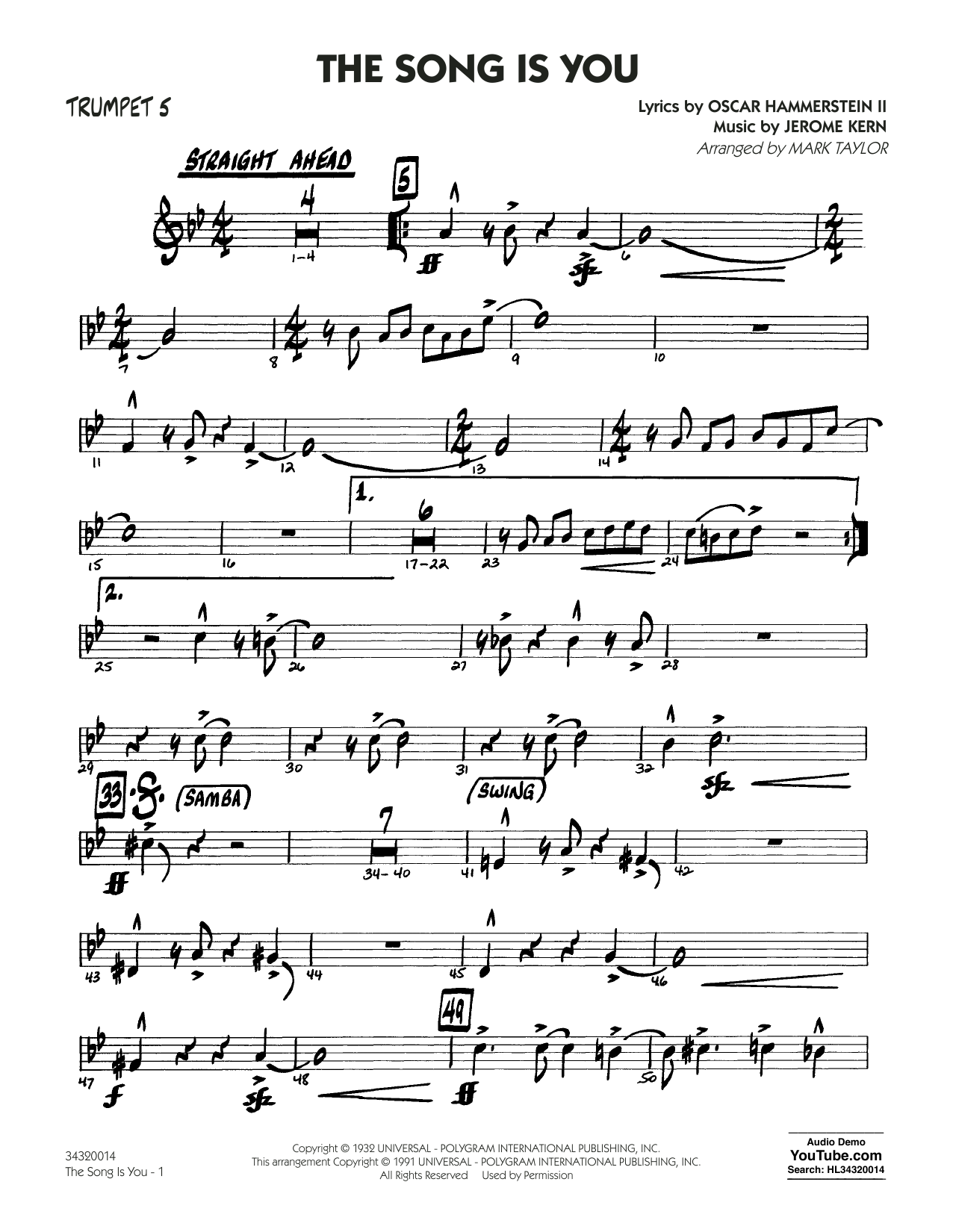 Oscar Hammerstein II - The Song Is You - Trumpet 5