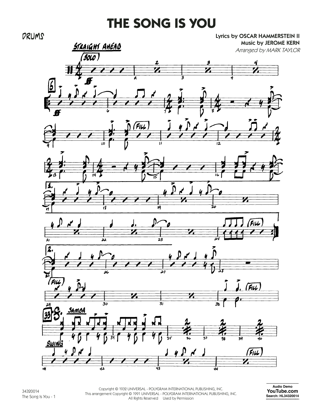 Oscar Hammerstein II - The Song Is You - Drums
