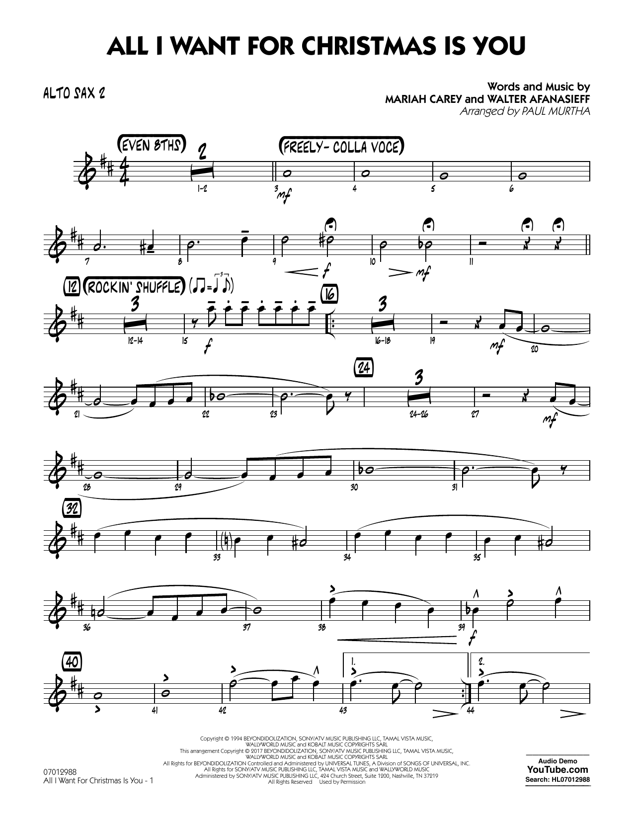 All I Want for Christmas Is You - Alto Sax 2