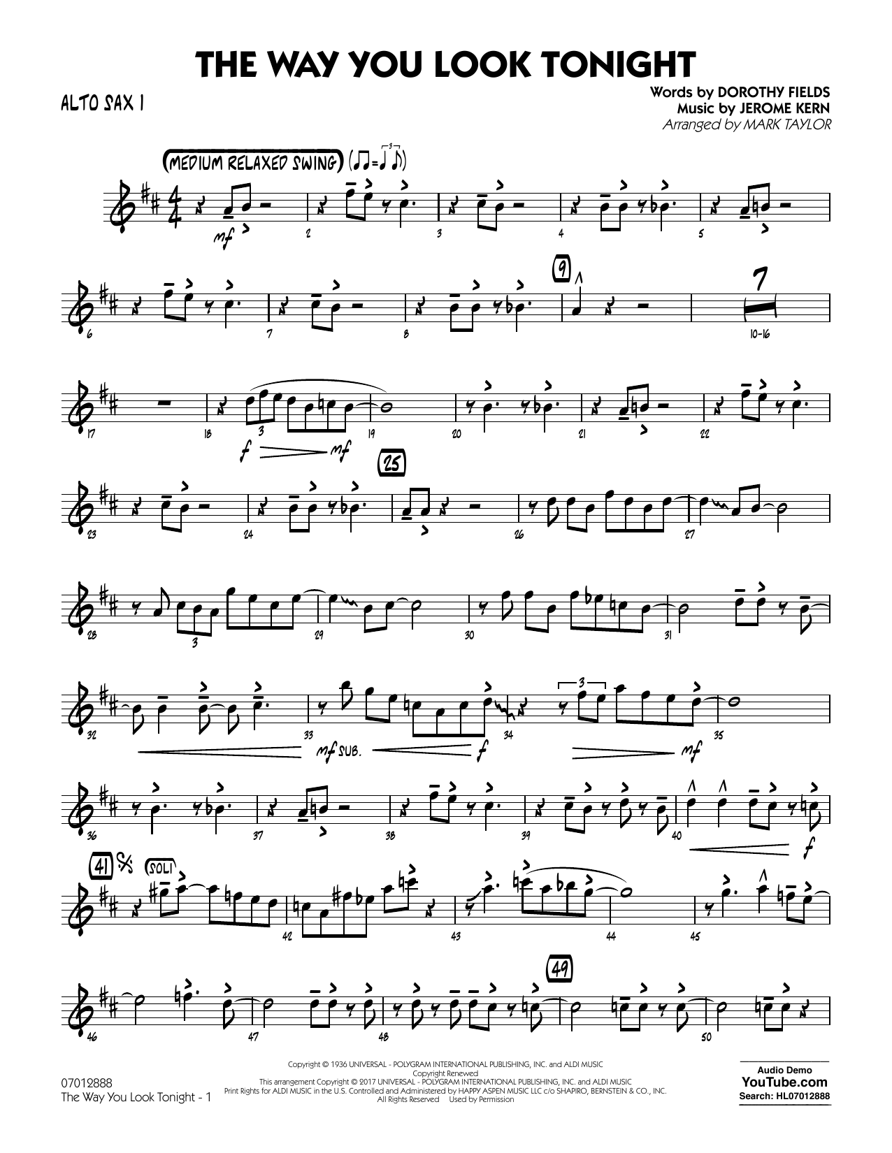Jerome Kern - The Way You Look Tonight - Alto Sax 1