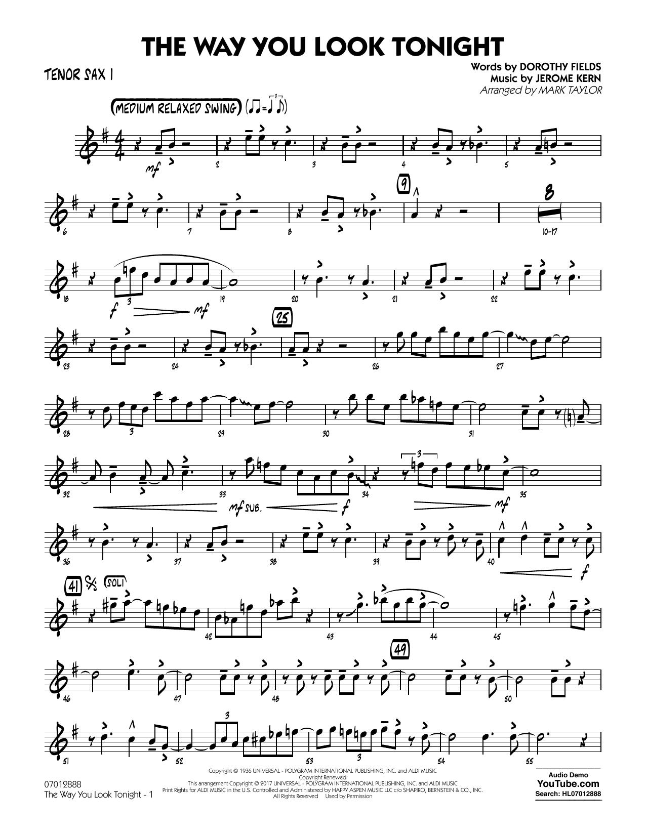 Jerome Kern - The Way You Look Tonight - Tenor Sax 1