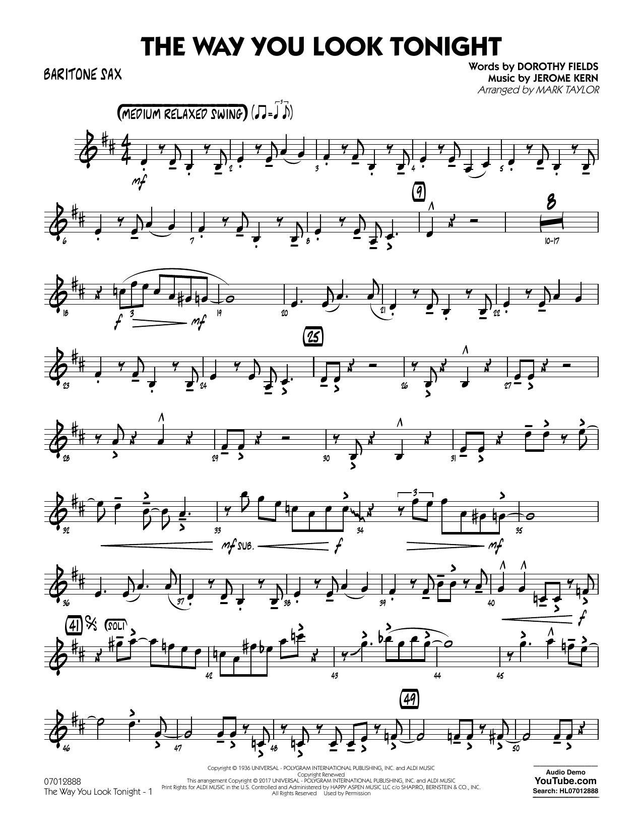 Jerome Kern - The Way You Look Tonight - Baritone Sax