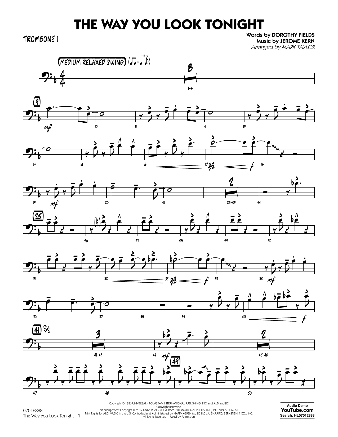 Jerome Kern - The Way You Look Tonight - Trombone 1