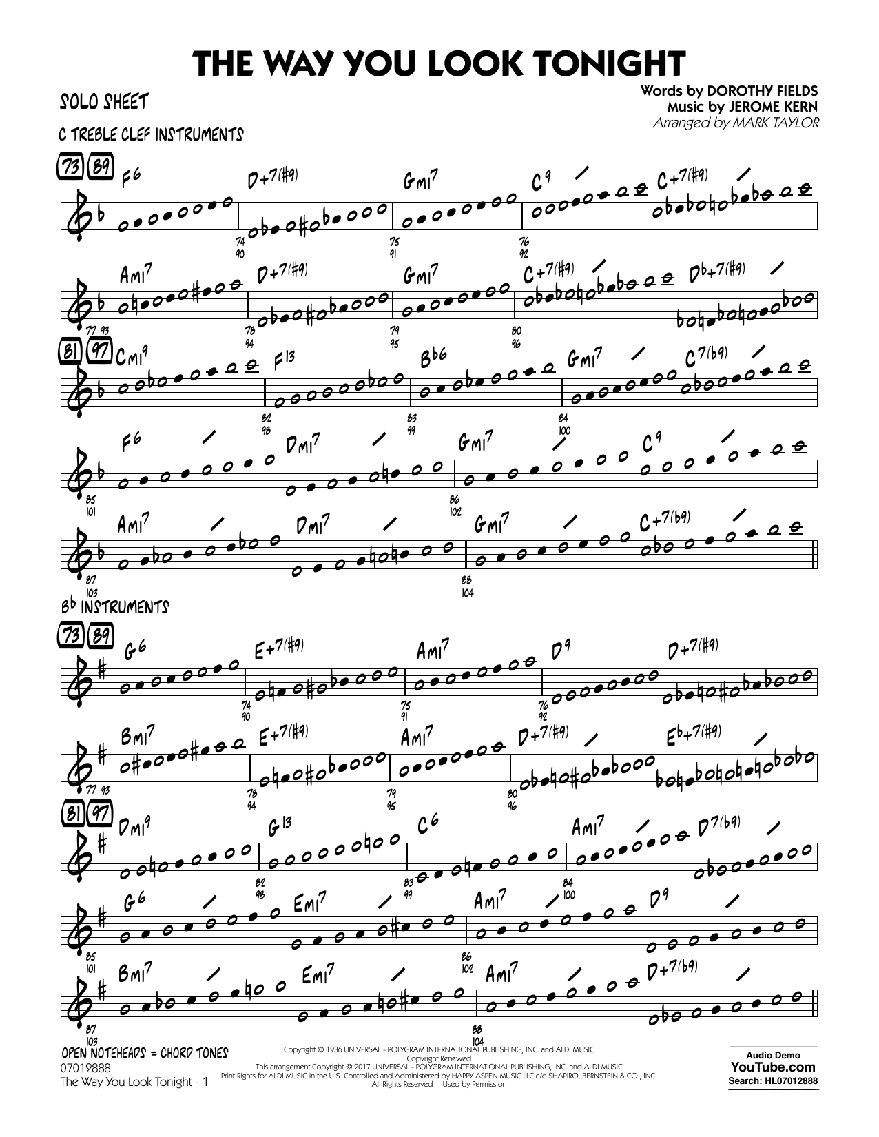 Jerome Kern - The Way You Look Tonight - Solo Sheet