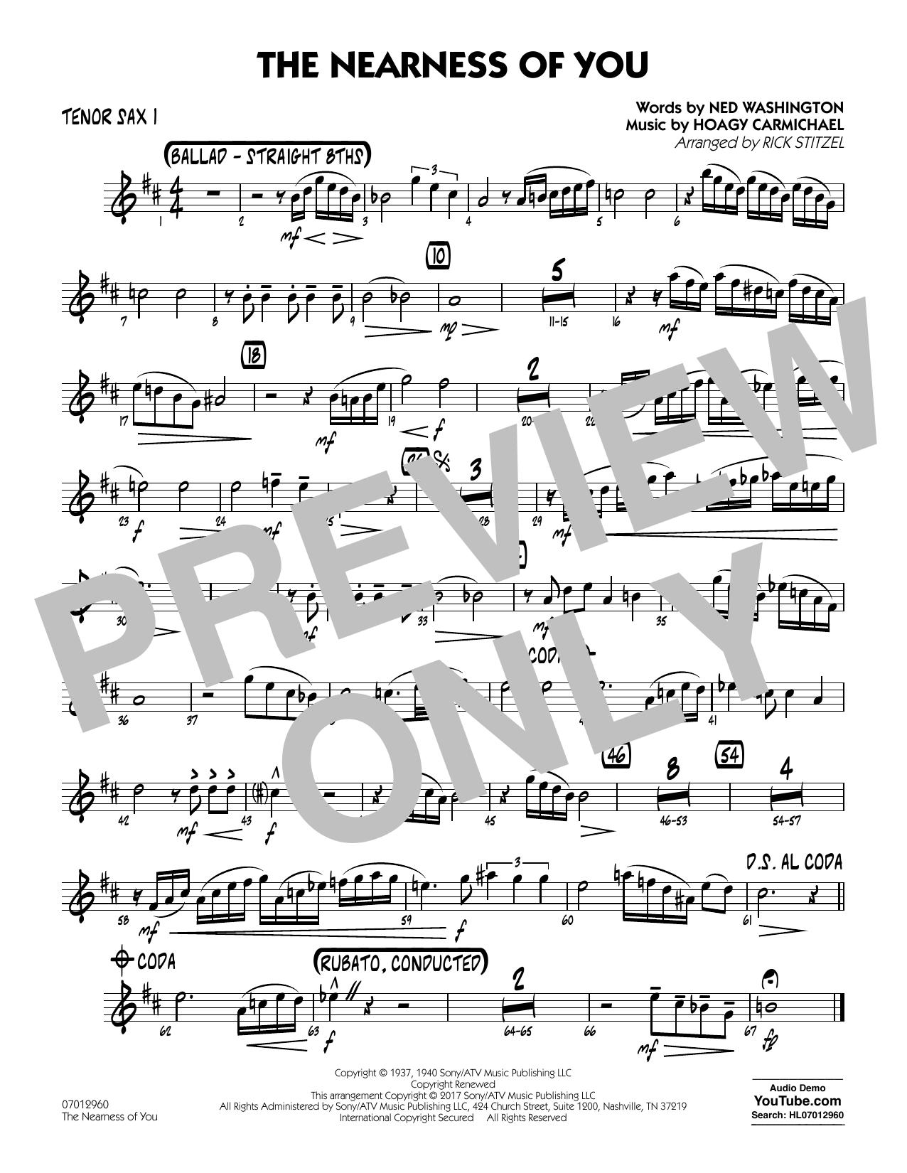 George Shearing - The Nearness of You (Key: C) - Tenor Sax 1