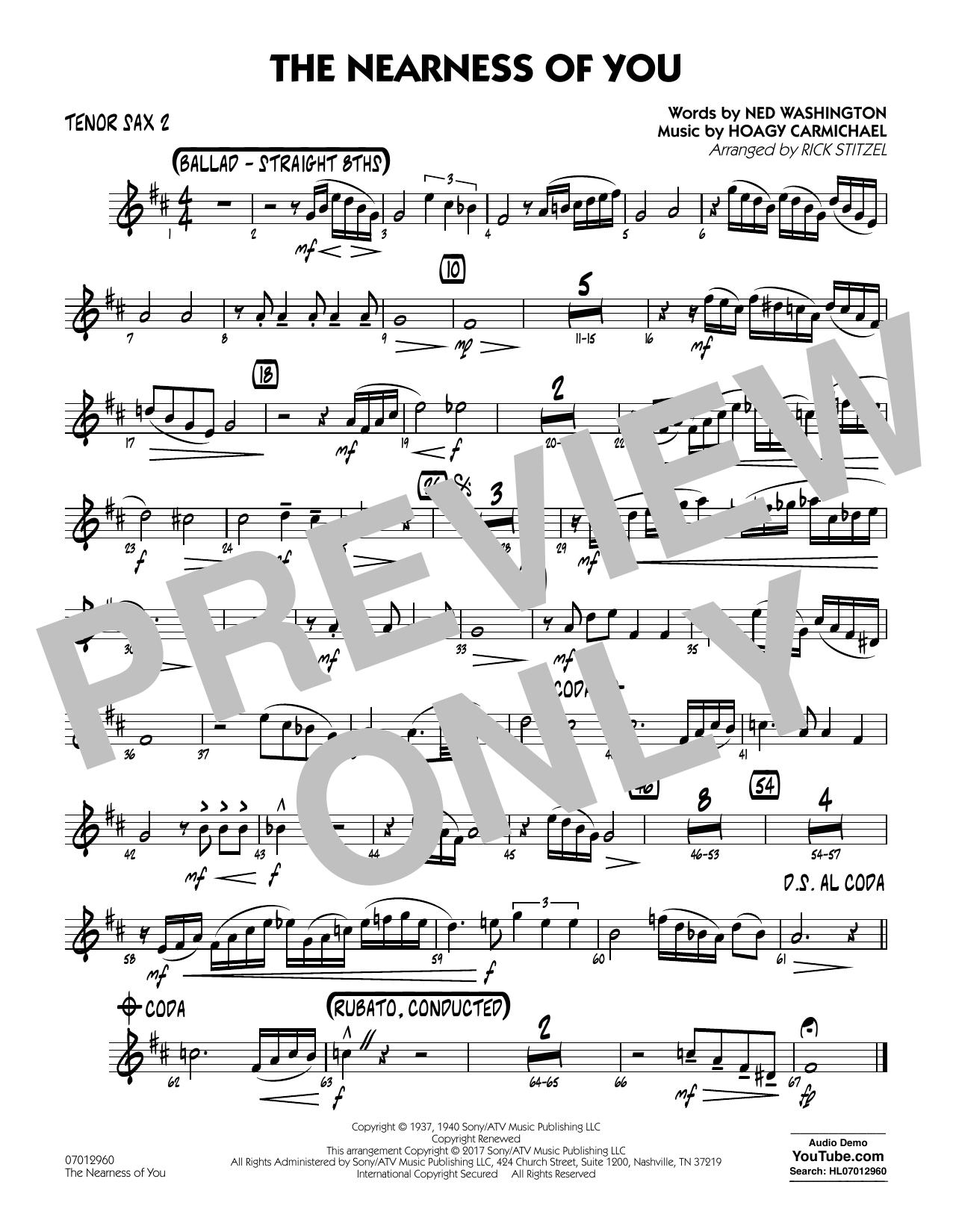 George Shearing - The Nearness of You (Key: C) - Tenor Sax 2