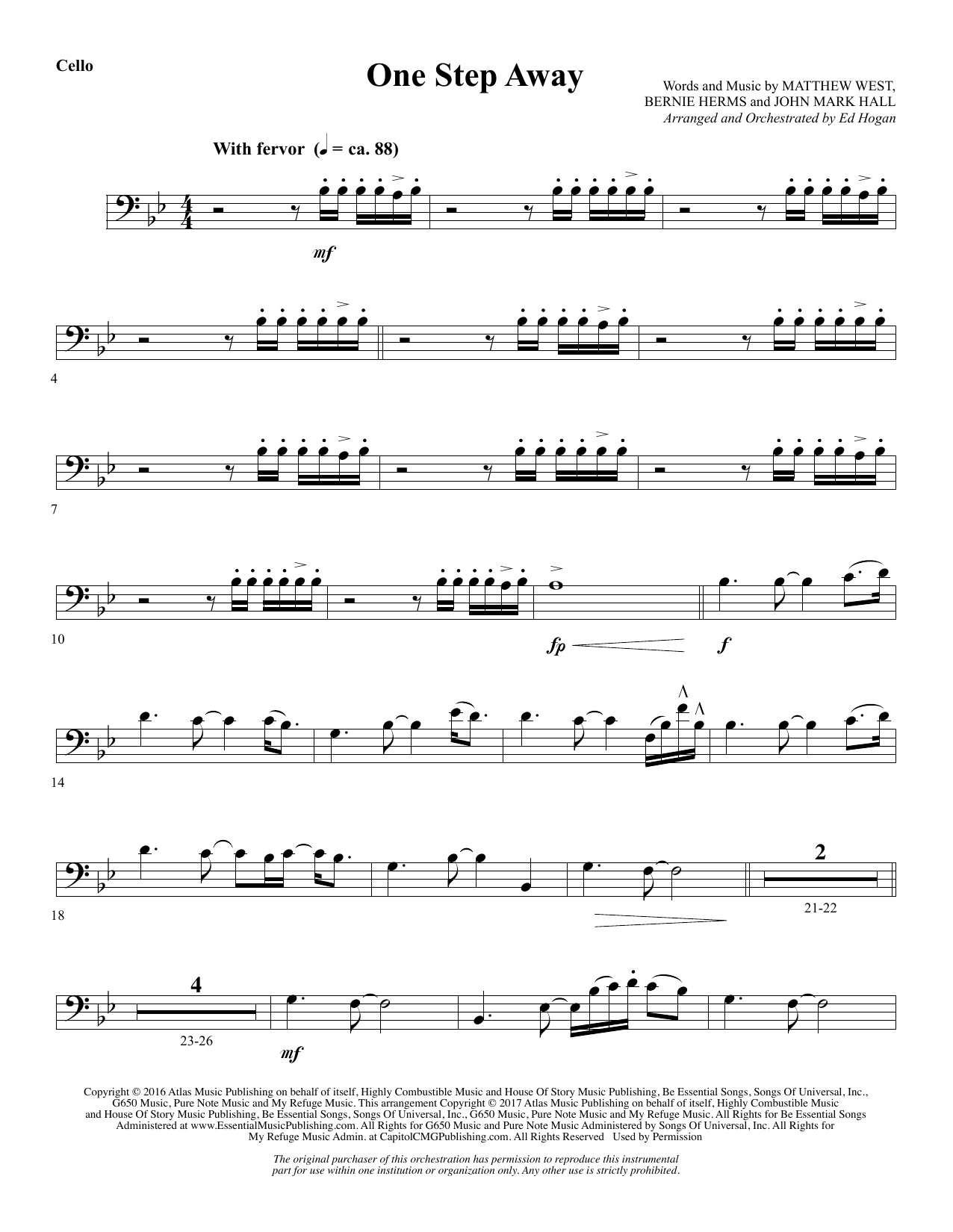 Casting Crowns - One Step Away - Cello