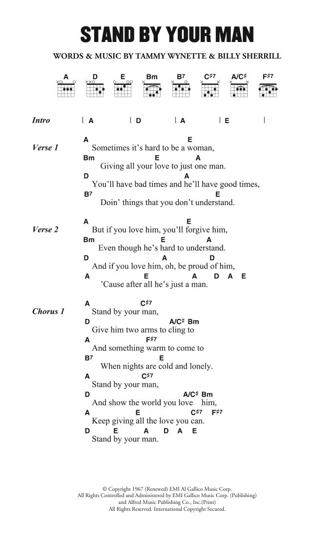 Tammy Wynette Stand By Your Man At Stantons Sheet Music