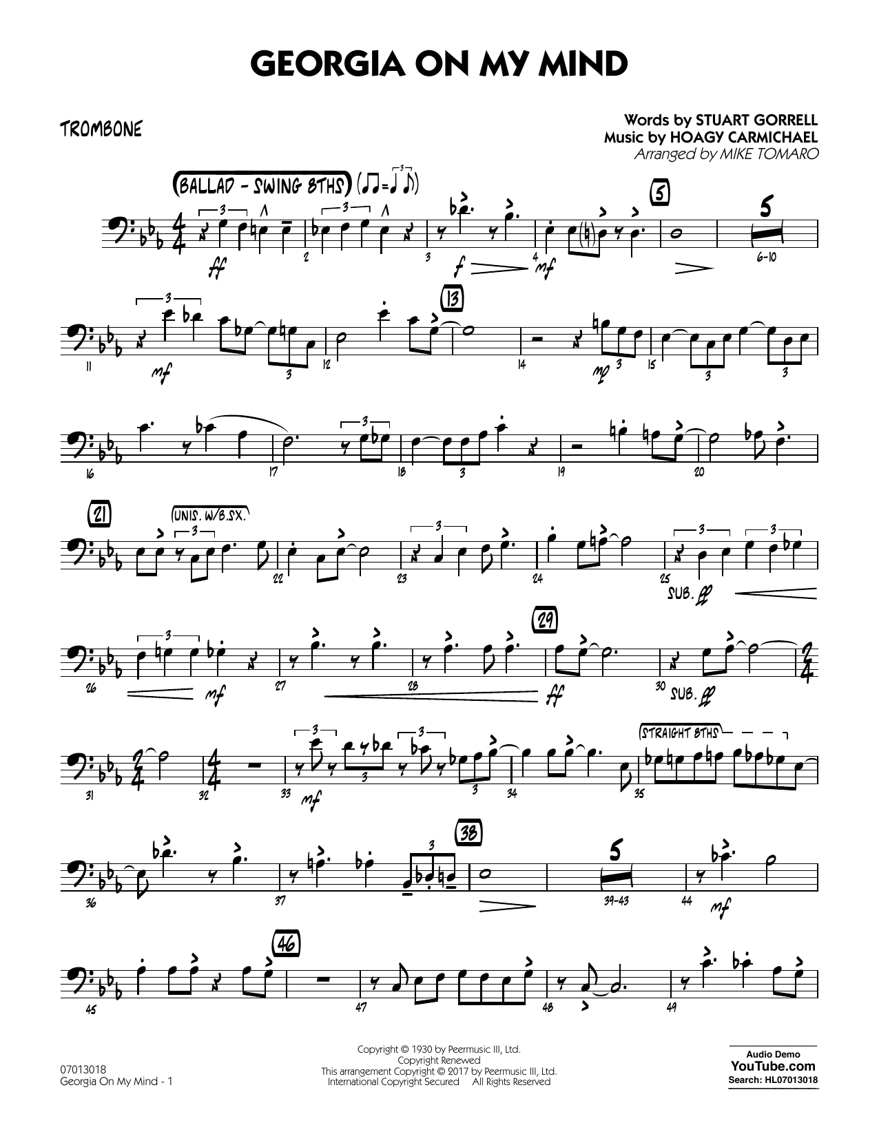 Georgia on my mind trombone sheet music at stantons sheet music format jazz ensemble hexwebz Image collections