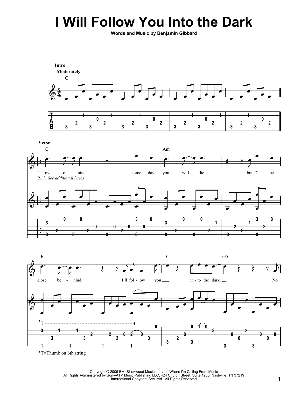 Sheet music digital files to print licensed death cab for cutie i will follow you into the dark hexwebz Choice Image