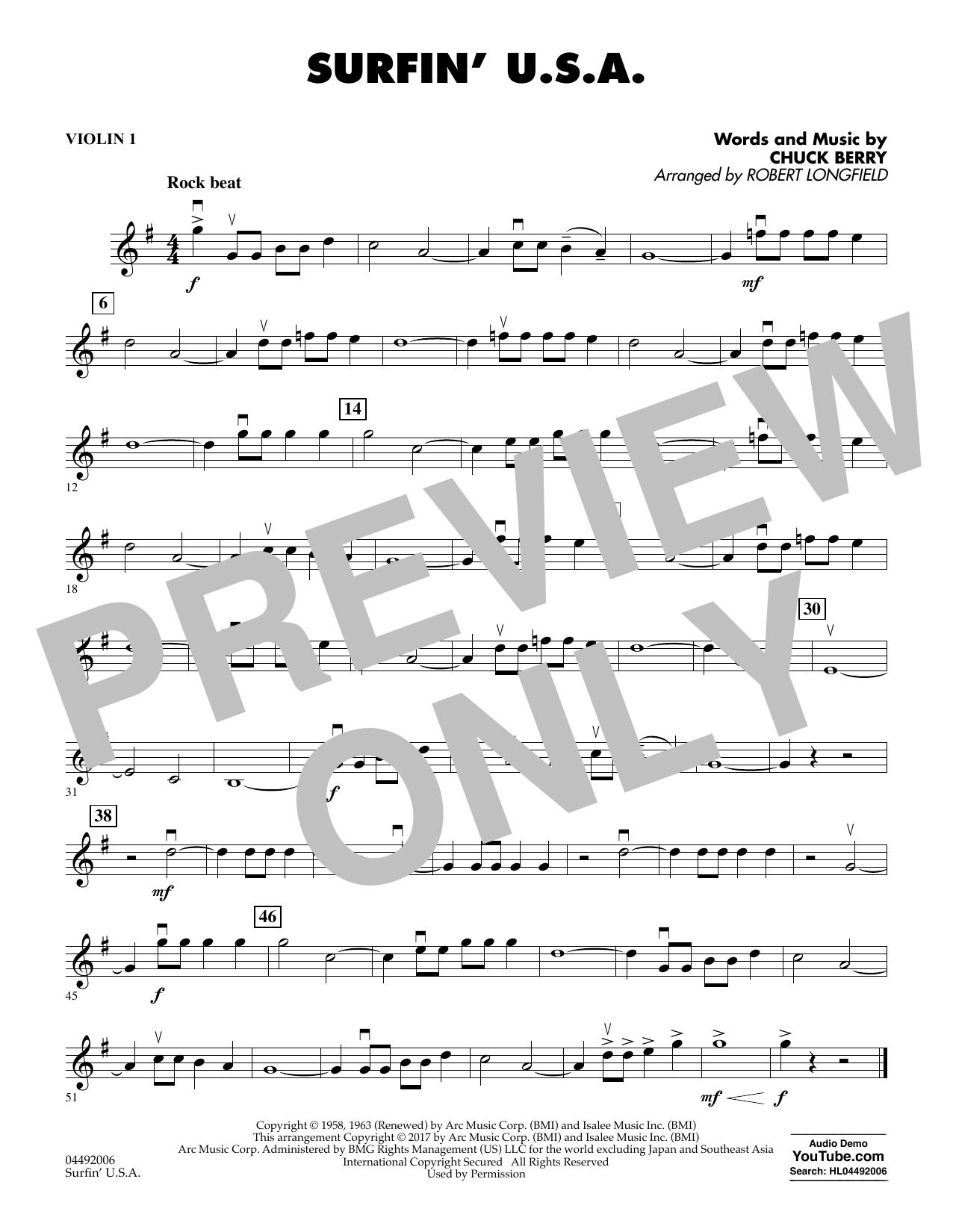 Sheet music digital files to print licensed chuck berry digital surfin usa violin 1 hexwebz Images