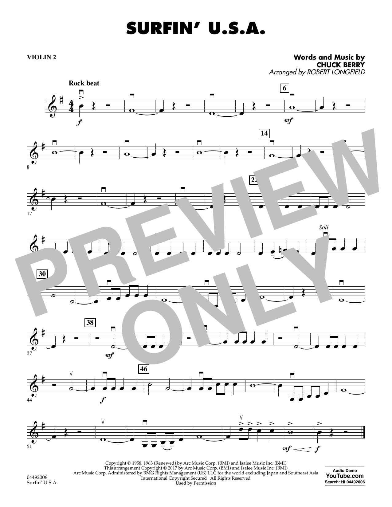 Sheet music digital files to print licensed chuck berry digital surfin usa violin 2 hexwebz Images