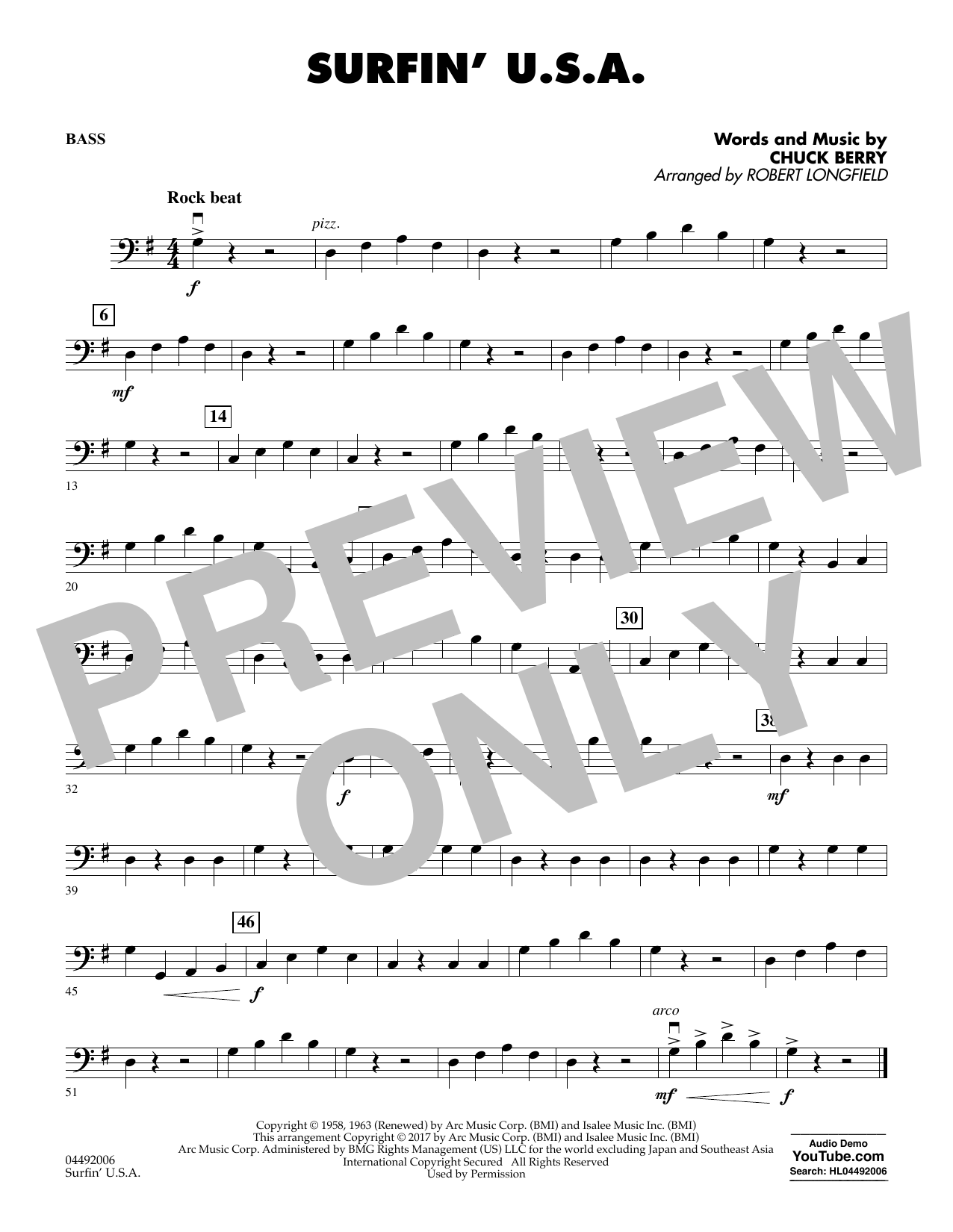 Sheet music digital files to print licensed chuck berry digital surfin usa string bass hexwebz Images