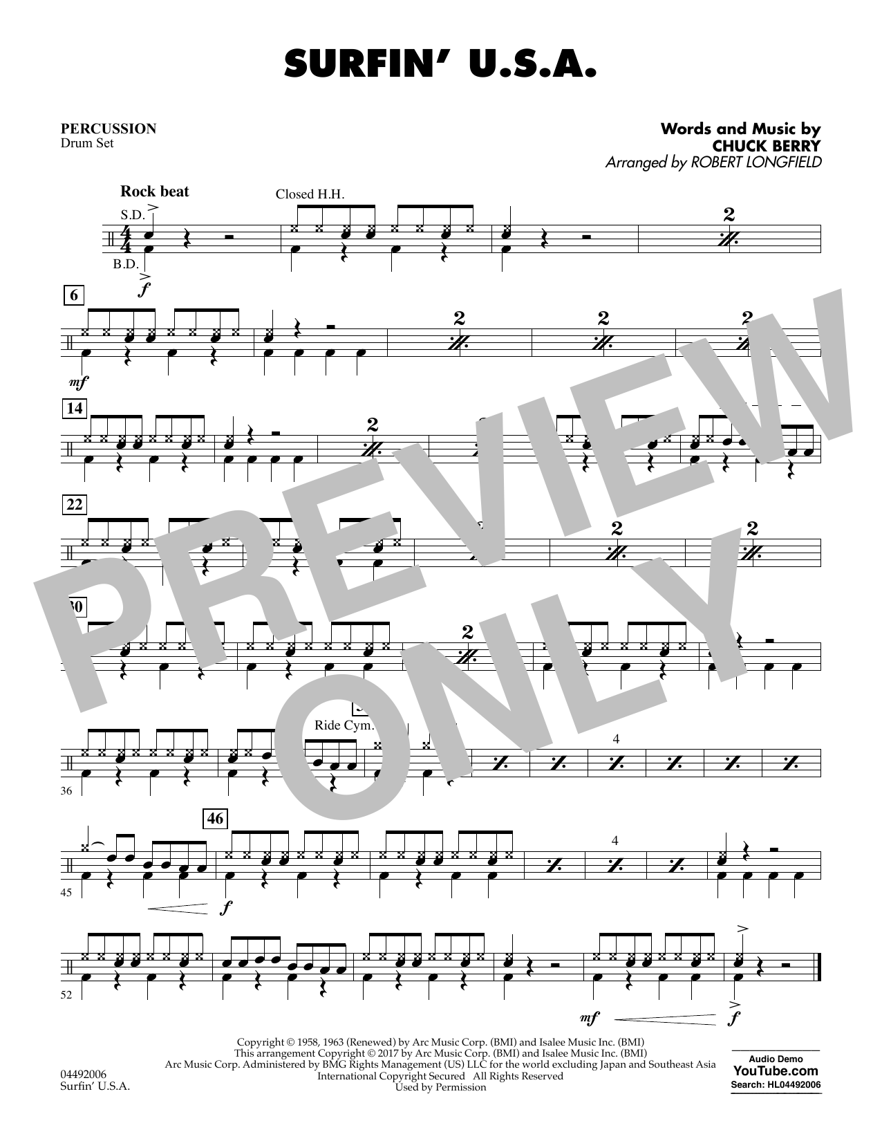 Sheet music digital files to print licensed chuck berry digital surfin usa percussion hexwebz Images
