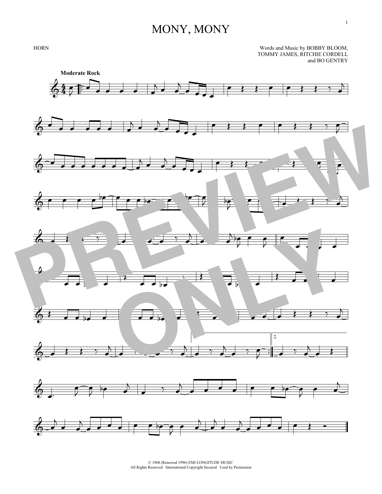 Sheet Music Digital Files To Print Licensed Tommy James The