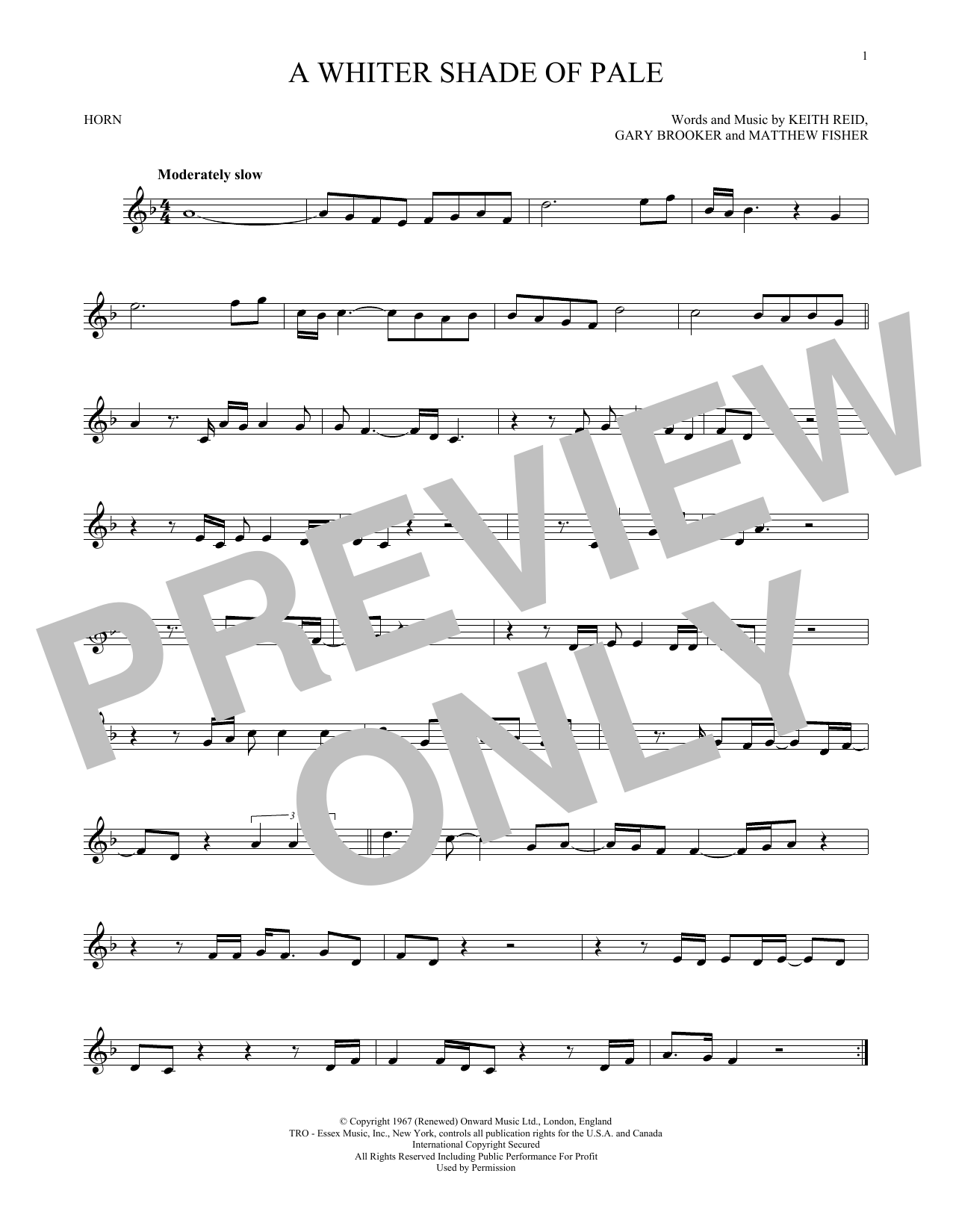 Sheet music digital files to print licensed gary brooker digital a whiter shade of pale hexwebz Choice Image