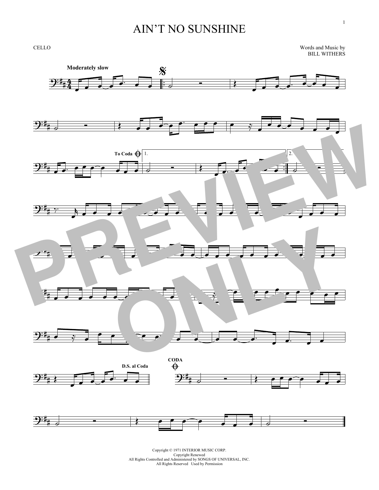 Sheet music digital files to print licensed bill withers digital aint no sunshine hexwebz Images