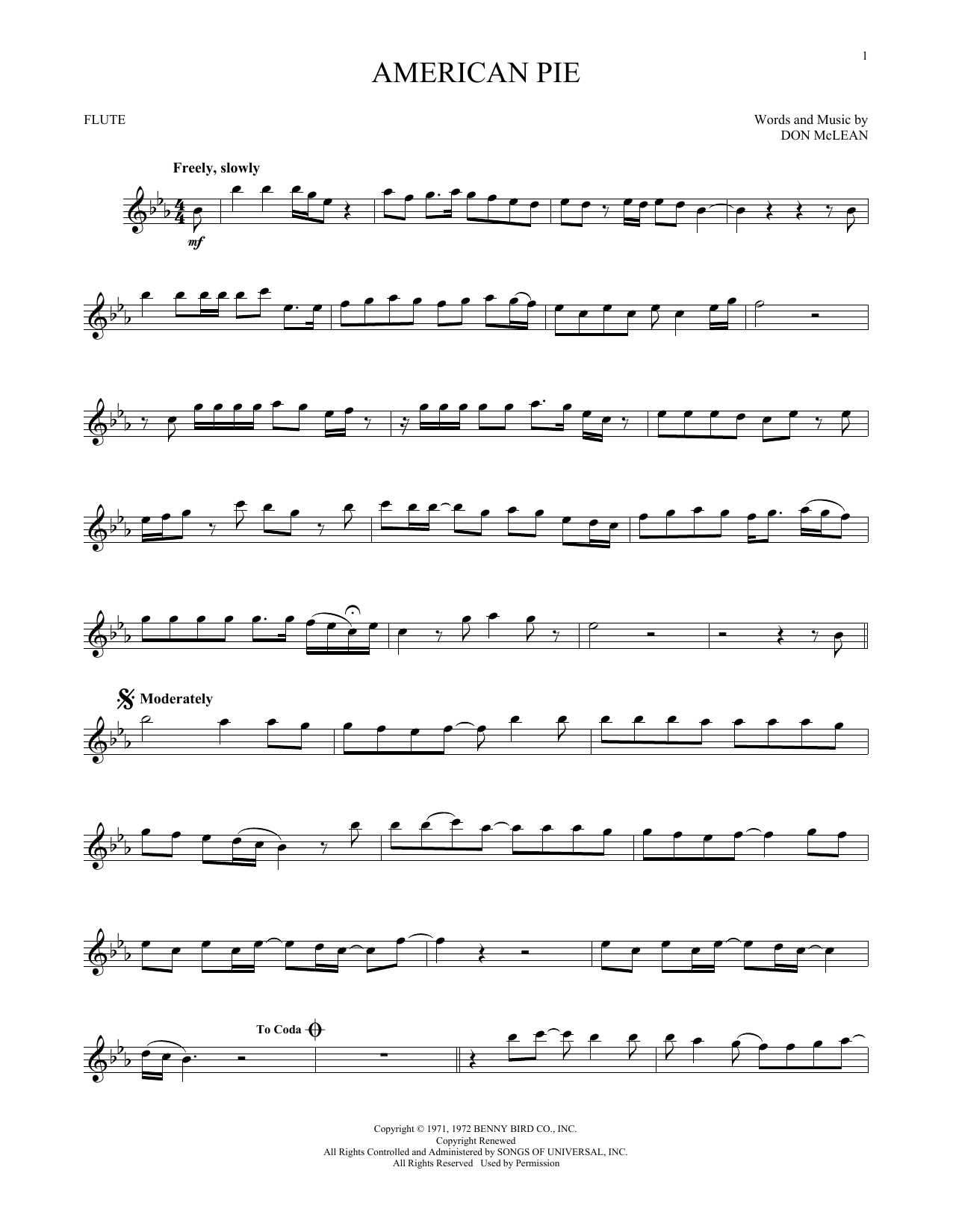 Sheet music digital files to print licensed don mclean digital sheet music digital by merriam music baditri Image collections