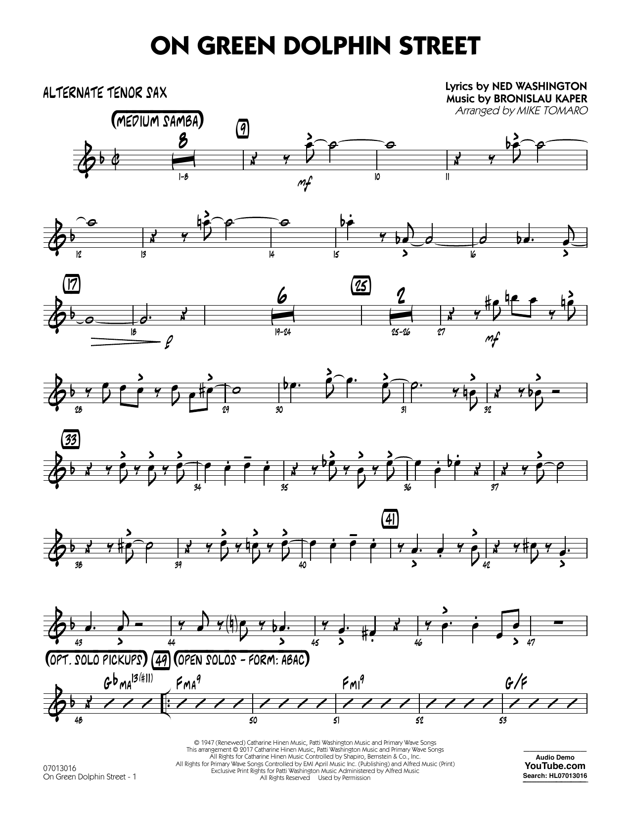 Sheet music digital files to print licensed bronislau kaper on green dolphin street alternate tenor sax stopboris Images