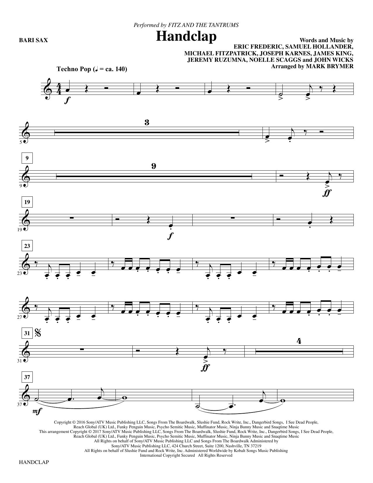 HandClap - Baritone Sax - Sheet Music at Stanton's Sheet Music
