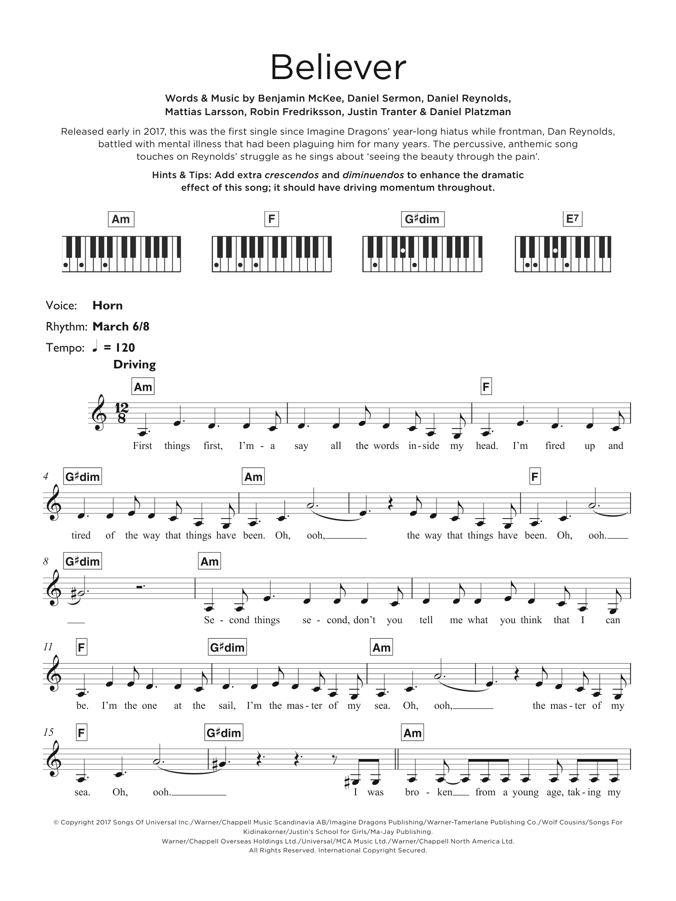 Imagine dragons believer sheet music at stantons sheet music format piano chord hexwebz Images