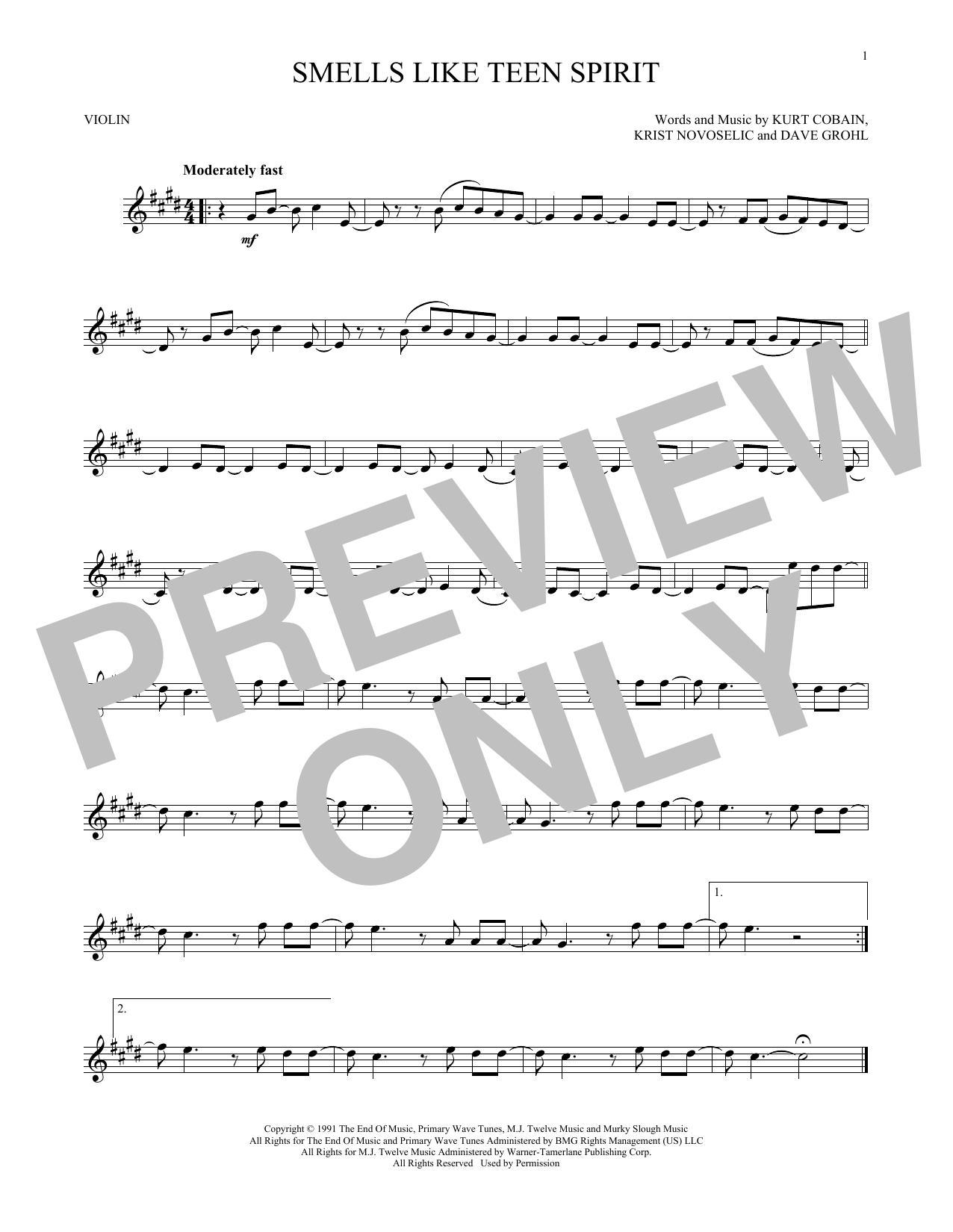 Violin sheet music at stantons sheet music nirvana smells like teen spirit hexwebz Choice Image
