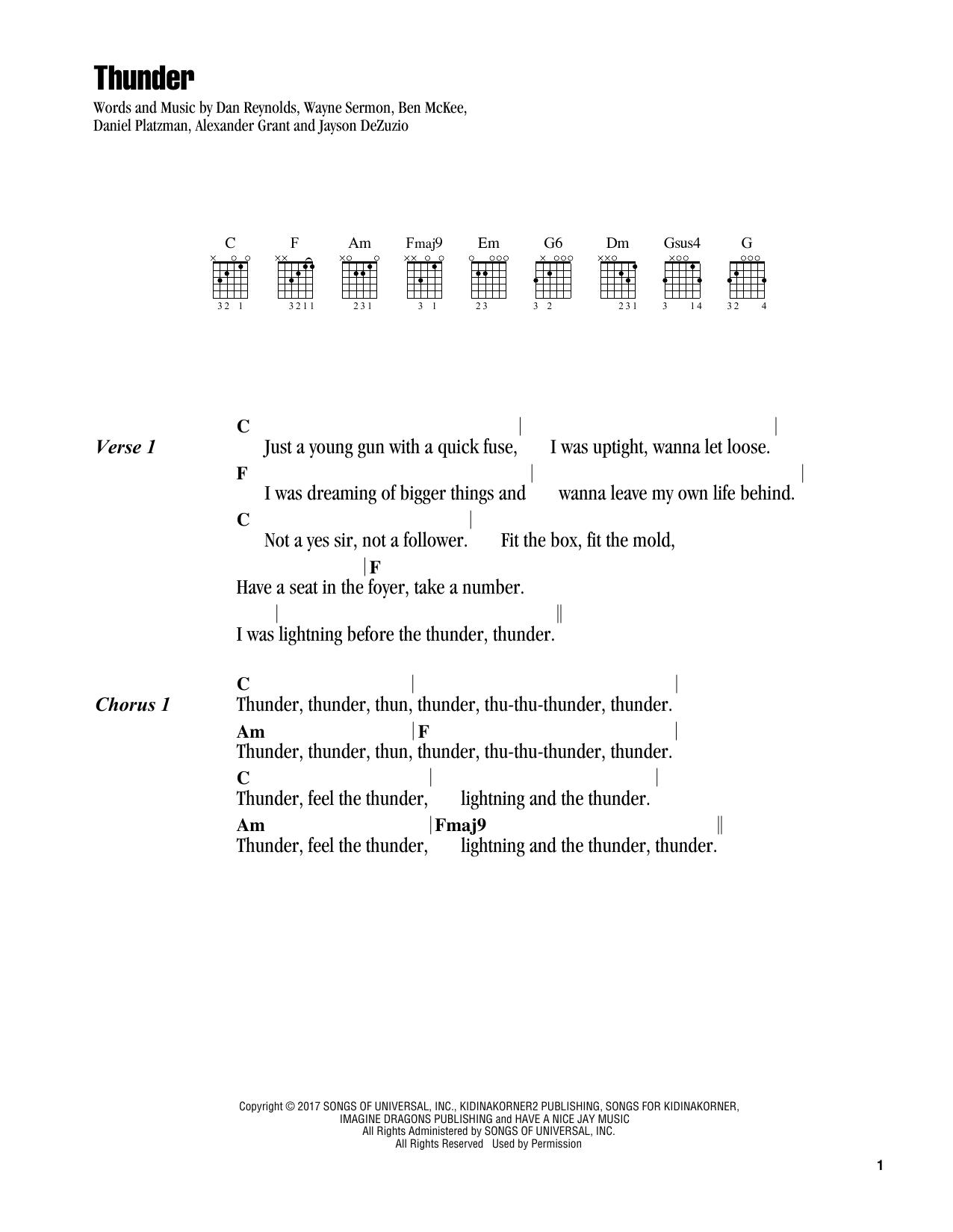 Guitar chord sheet music at stantons sheet music imagine dragons thunder hexwebz Gallery