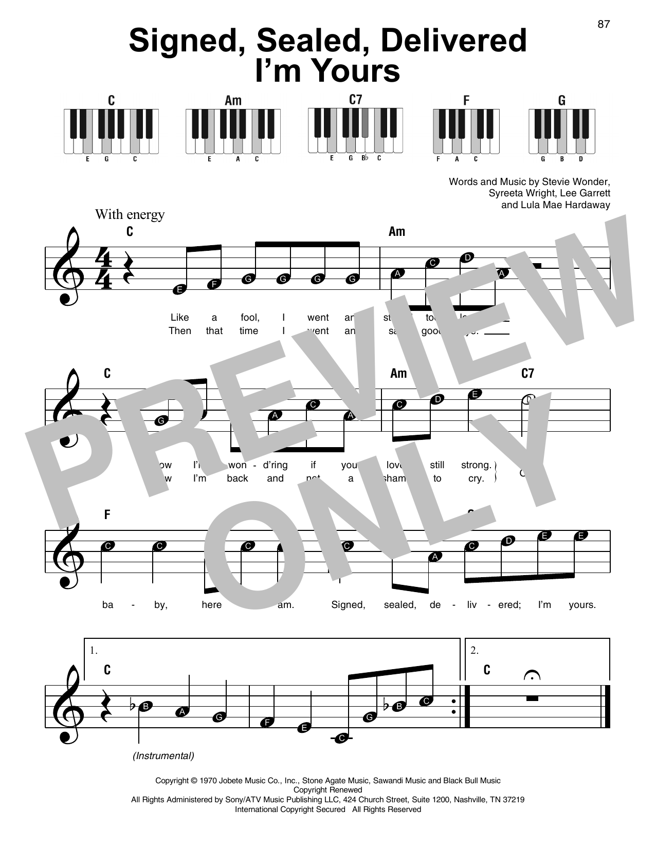 Sheet music digital files to print licensed syreeta wright signed sealed delivered im yours hexwebz Choice Image