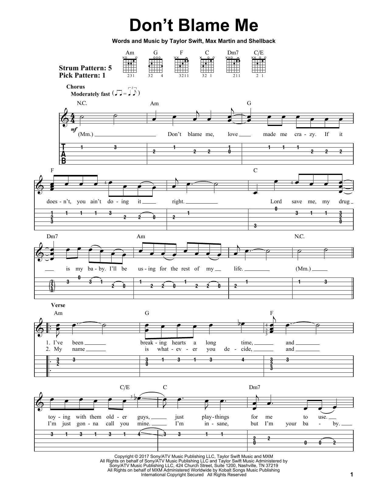 Sheet music digital files to print licensed taylor swift digital dont blame me hexwebz Gallery