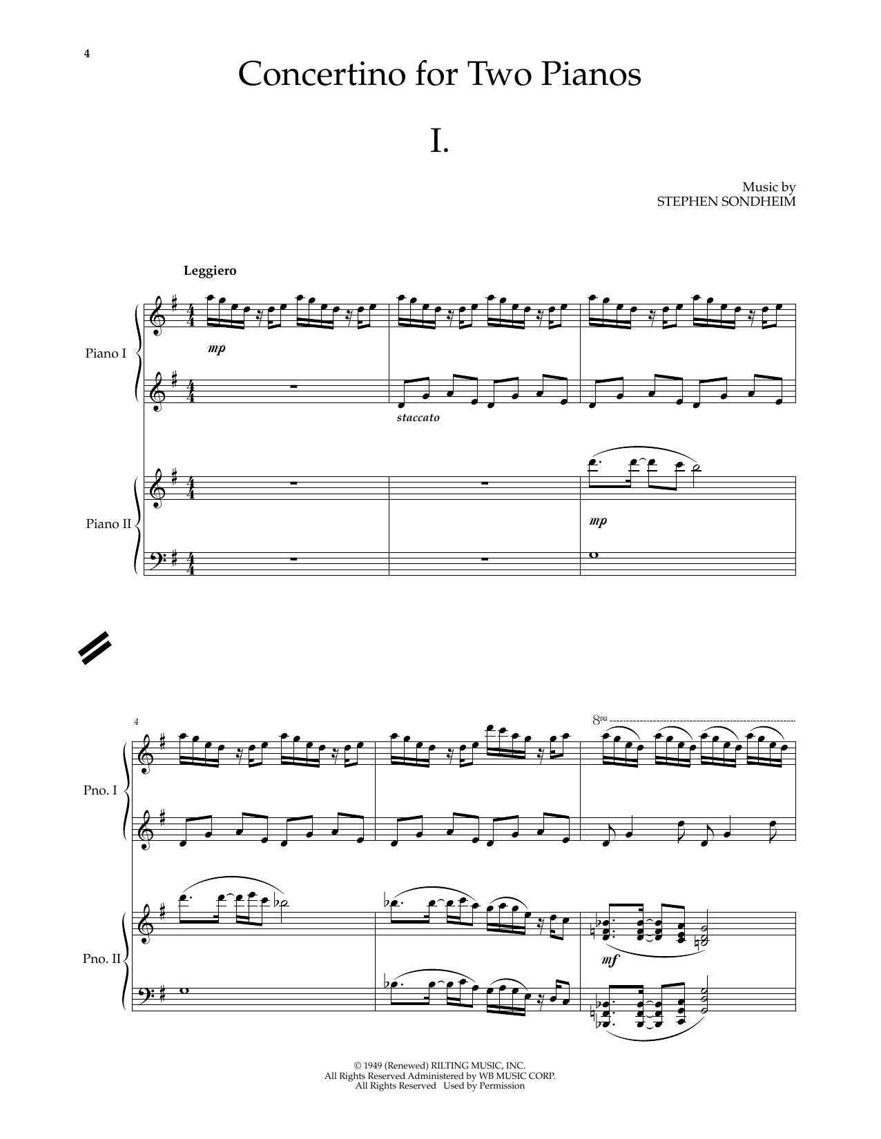 Concertino for Two Pianos - Set of Two Copies by Stephen Sondheim