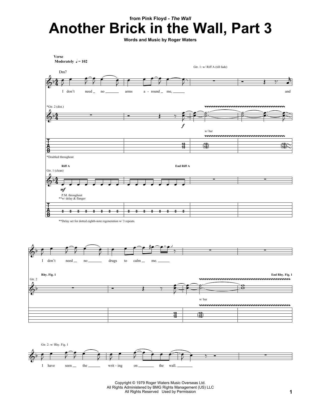 Sheet music digital files to print licensed guitar tab digital another brick in the wall hexwebz Choice Image