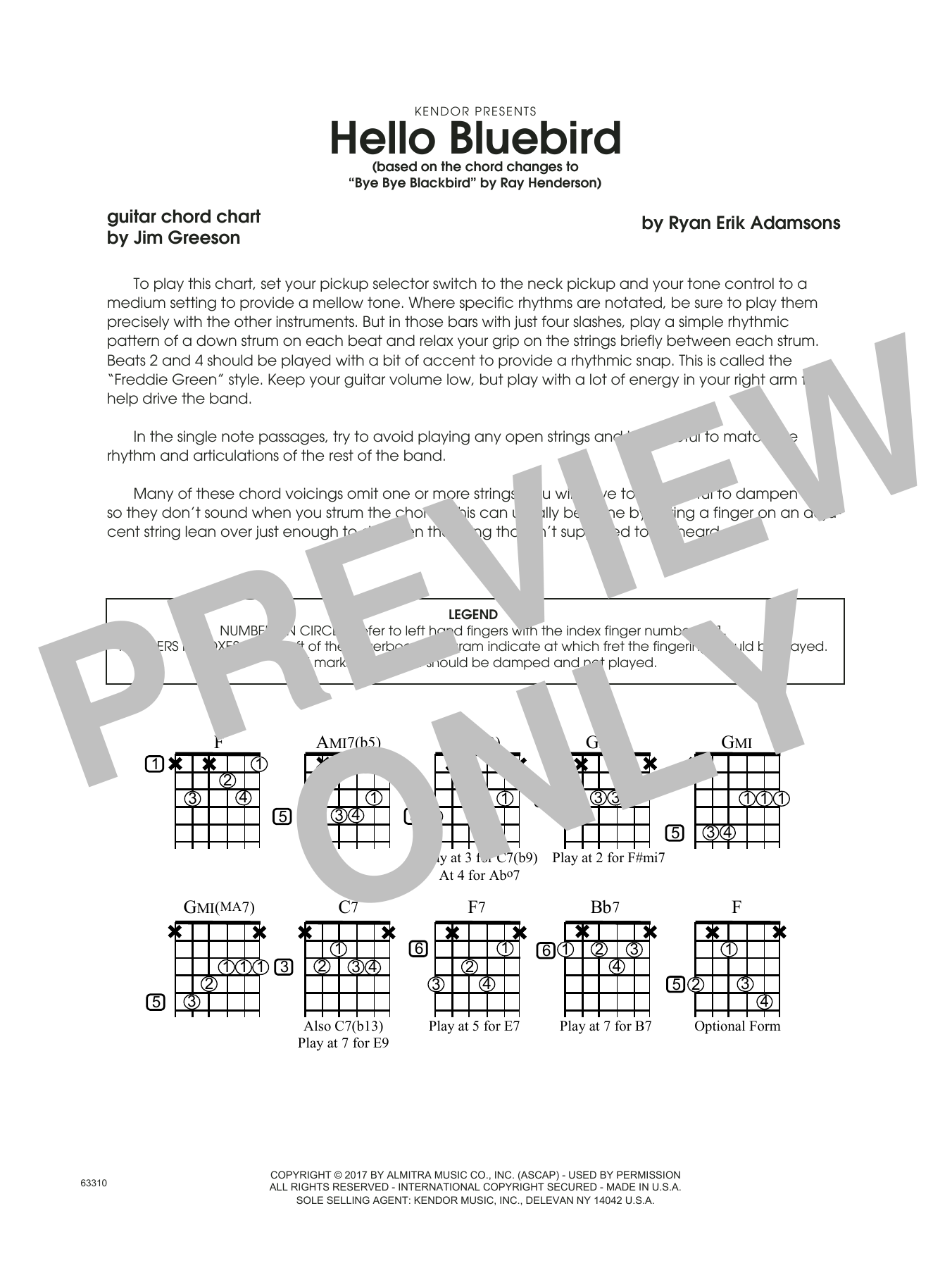 Hello Bluebird Based On Bye Bye Blackbird Guitar Chord Chart At
