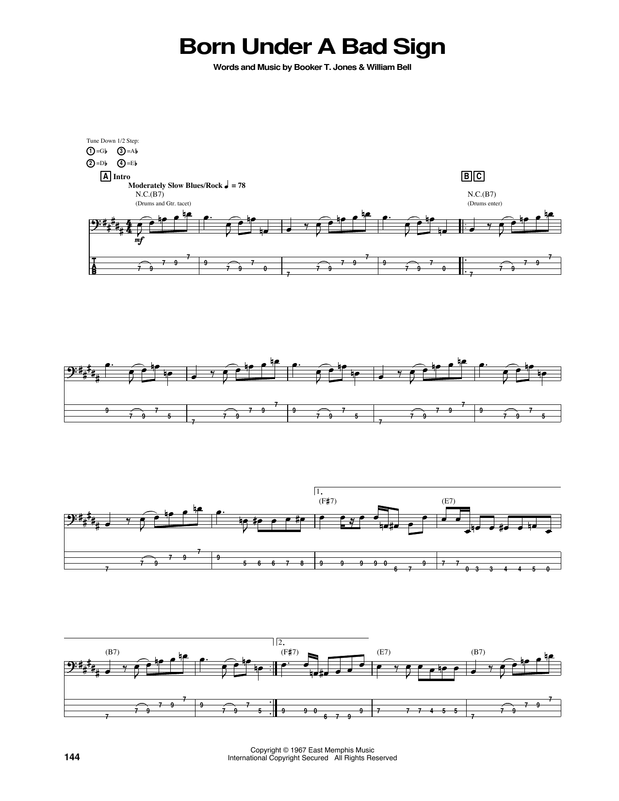 Tablature guitare Born Under A Bad Sign de Jimi Hendrix - Tablature Basse