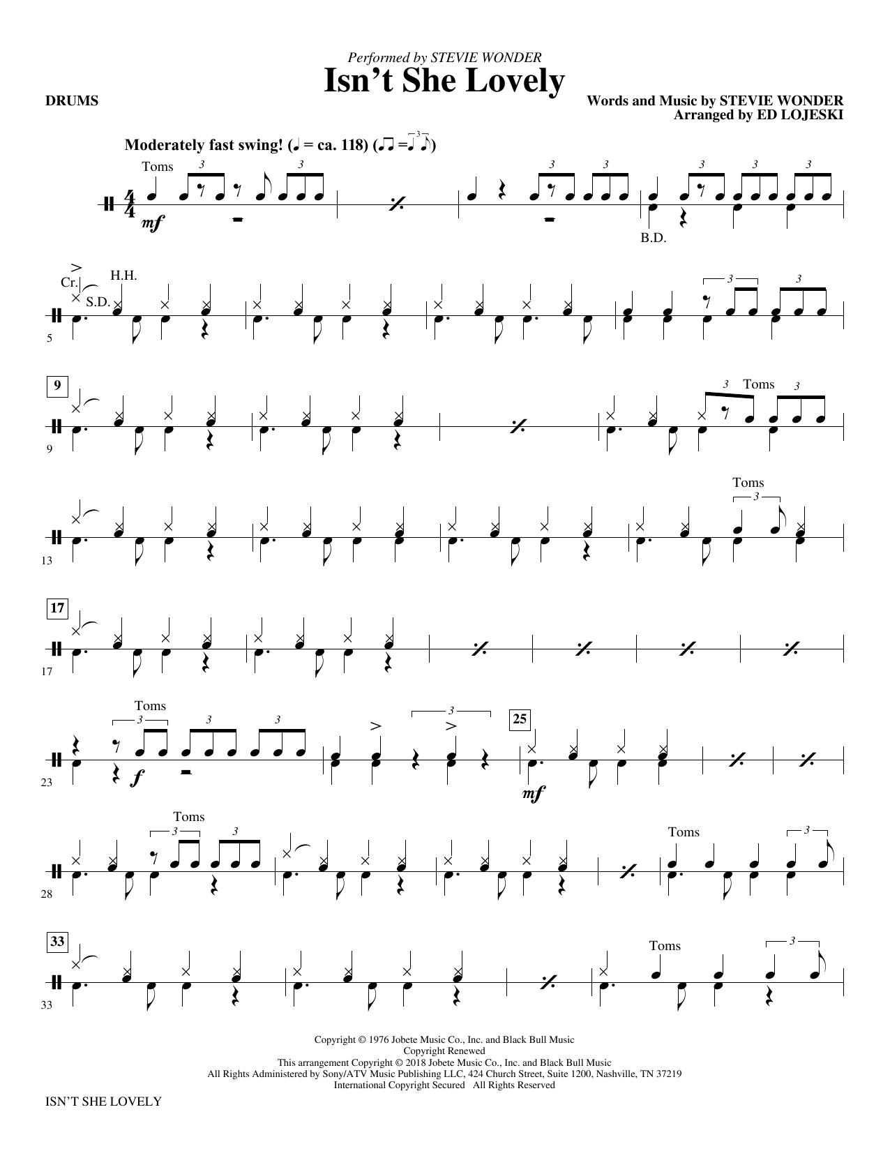 Stevie Wonder Isnt She Lovely Drums At Stantons Sheet Music
