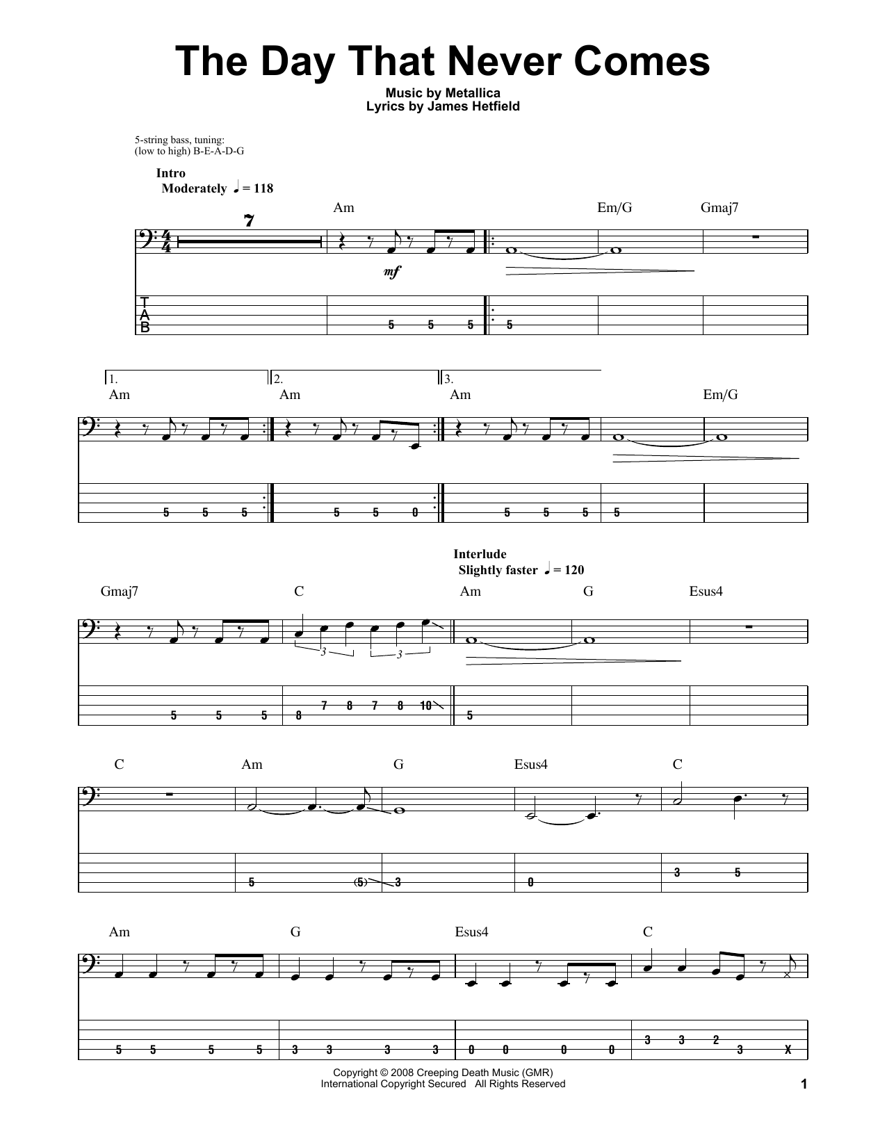 the day that never comes acoustic guitar tabs
