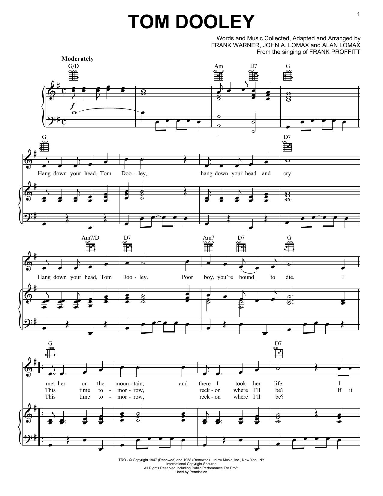 Partition piano Tom Dooley de Kingston Trio - Piano Voix Guitare (Mélodie Main Droite)