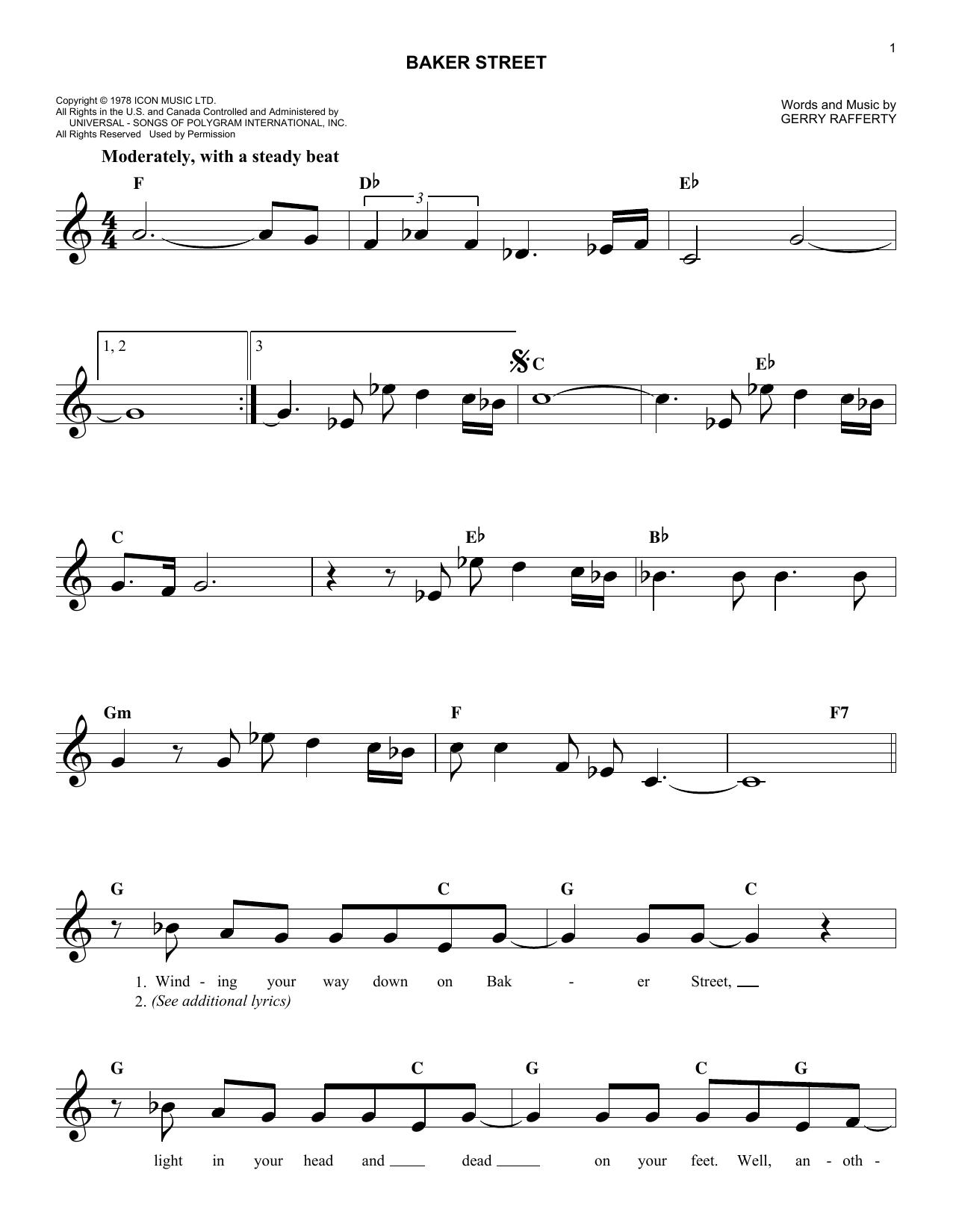 Sheet Music Digital Files To Print Licensed Gerry Rafferty Digital