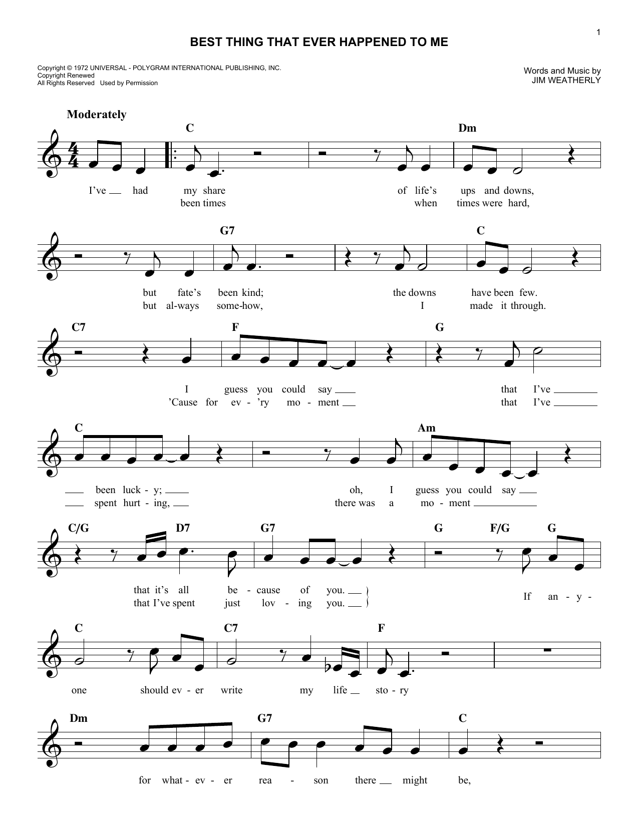 Sheet Music Digital Files To Print Licensed Jim Weatherly Digital