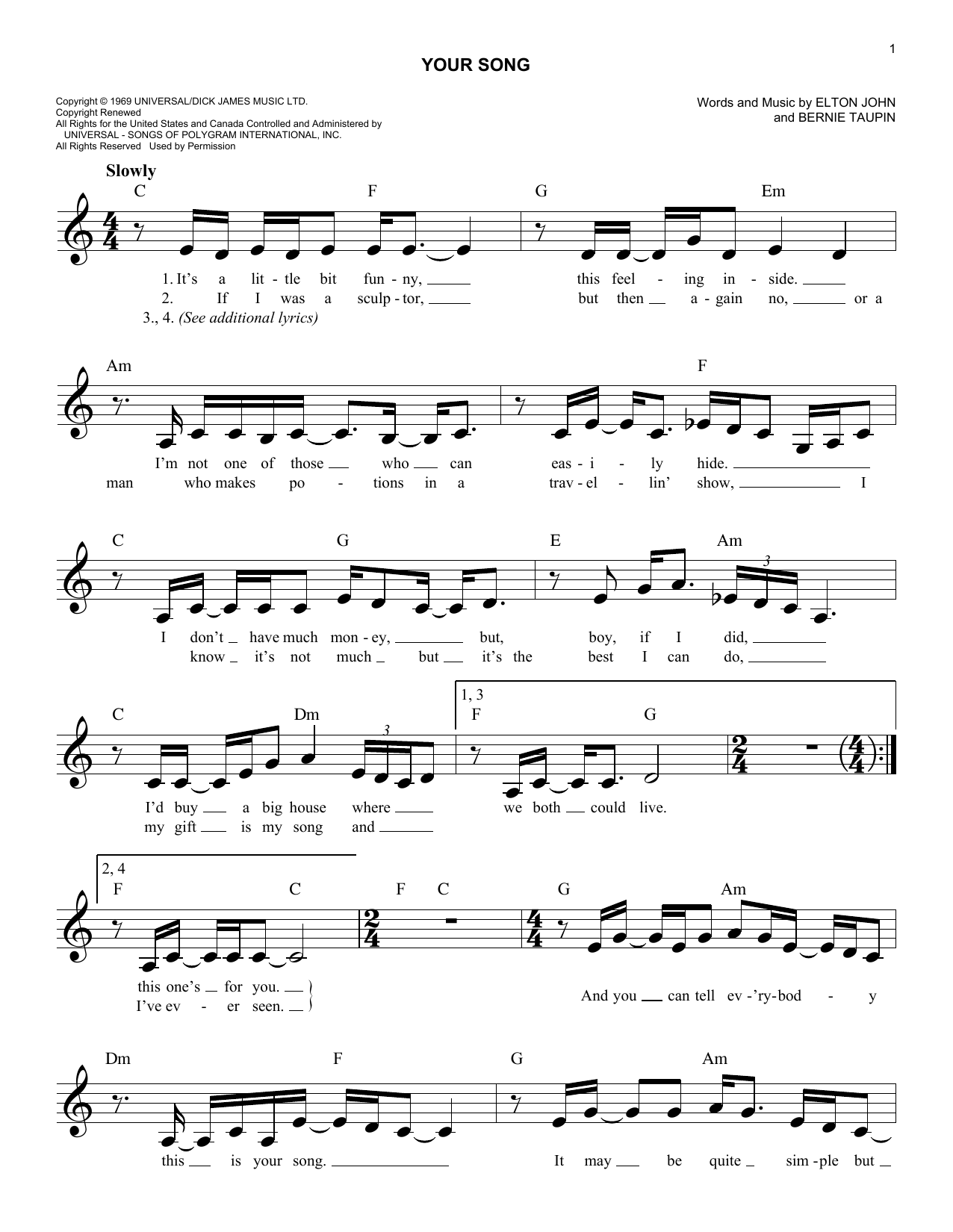 Sheet Music Digital Files To Print Licensed Bernie Taupin Digital