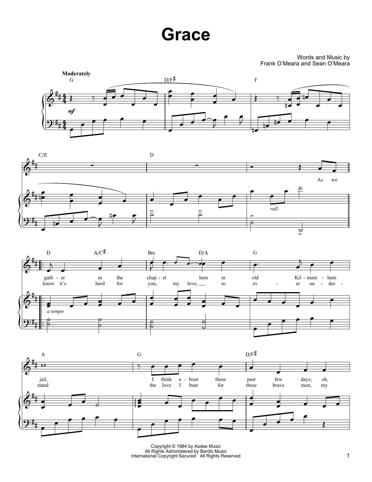 Partition piano Grace de Ronan Tynan - Piano Voix Guitare (Mélodie Main Droite)