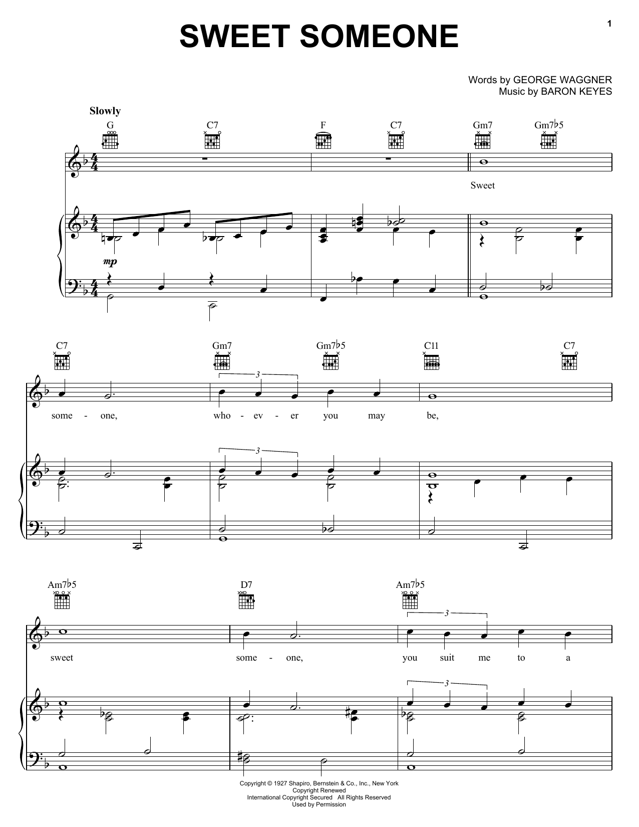 Sweet Someone sheet music for voice, piano or guitar by George Waggner