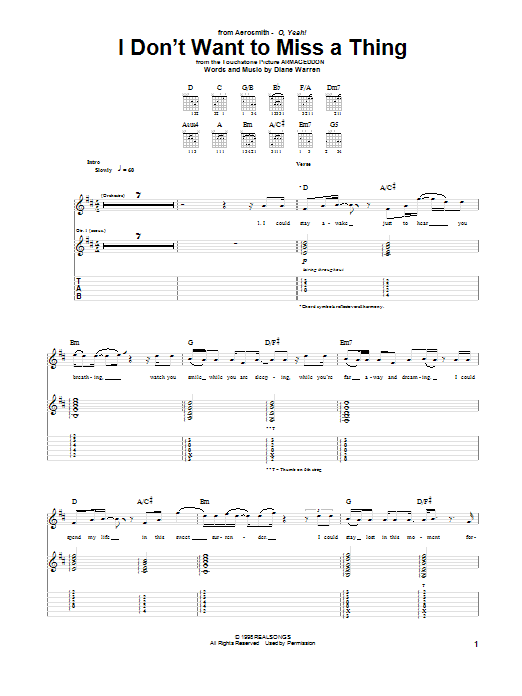 Tablature guitare I Don't Want To Miss A Thing de Aerosmith - Tablature Guitare