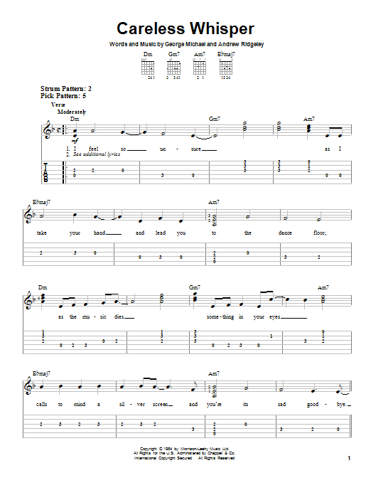Tablature guitare Careless Whisper de George Michael - Tablature guitare facile