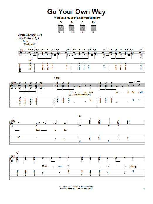 Tablature guitare Go Your Own Way de Fleetwood Mac - Tablature guitare facile