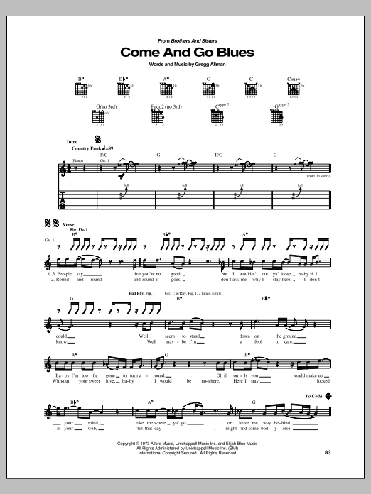 Tablature guitare Come And Go Blues de Allman Brothers - Tablature Guitare