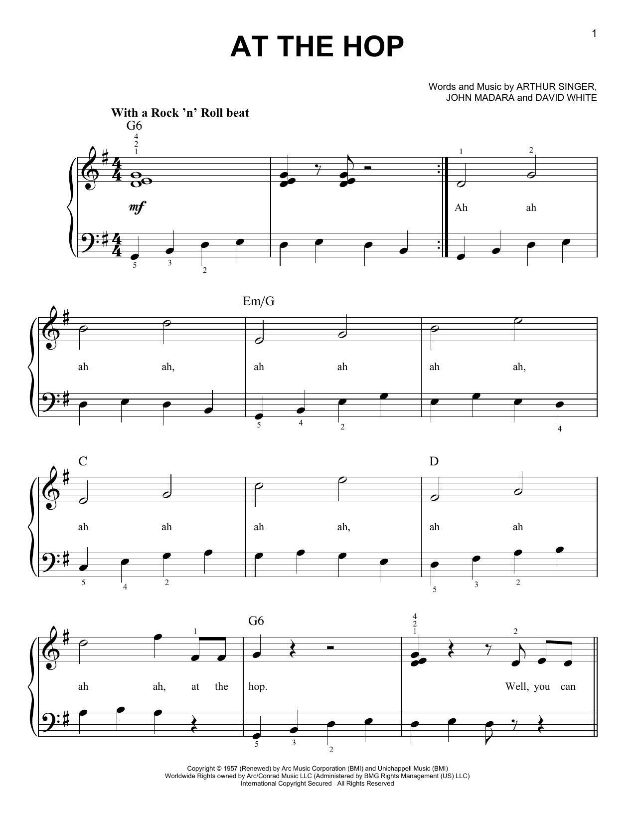 Partition piano At The Hop de Danny & The Juniors - Piano Facile