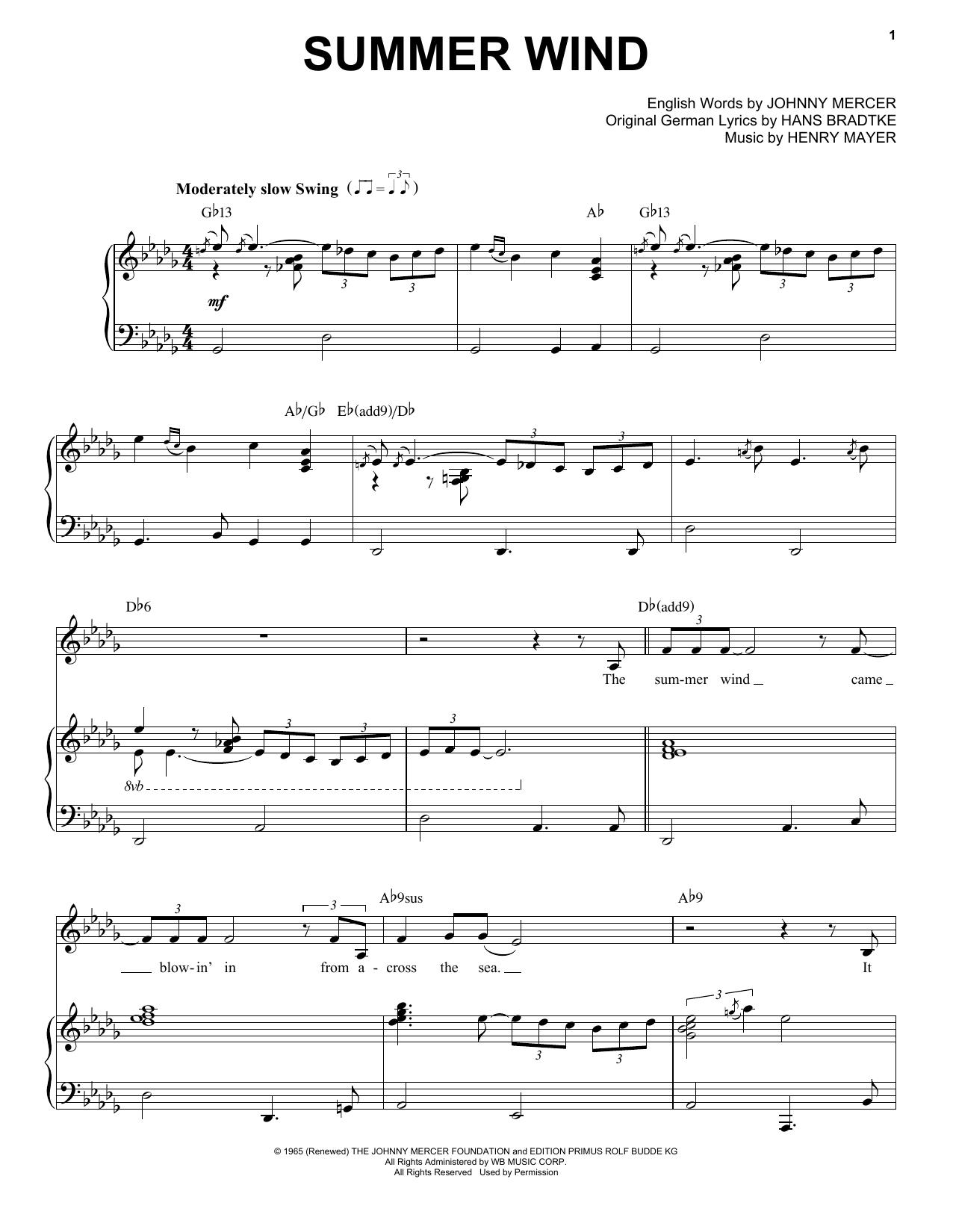 Partition piano Summer Wind de Frank Sinatra - Piano Voix