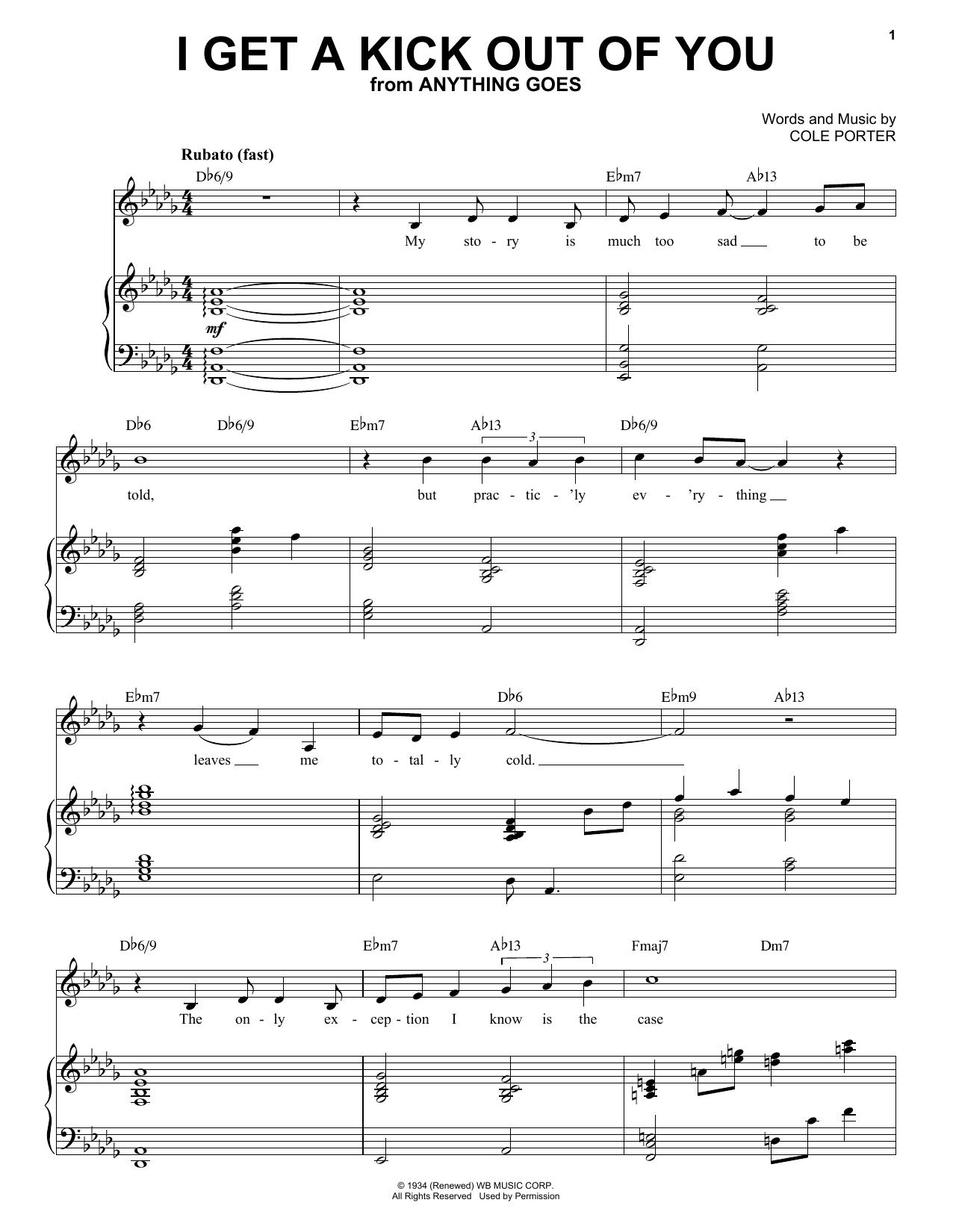 Partition piano I Get A Kick Out Of You de Frank Sinatra - Piano Voix