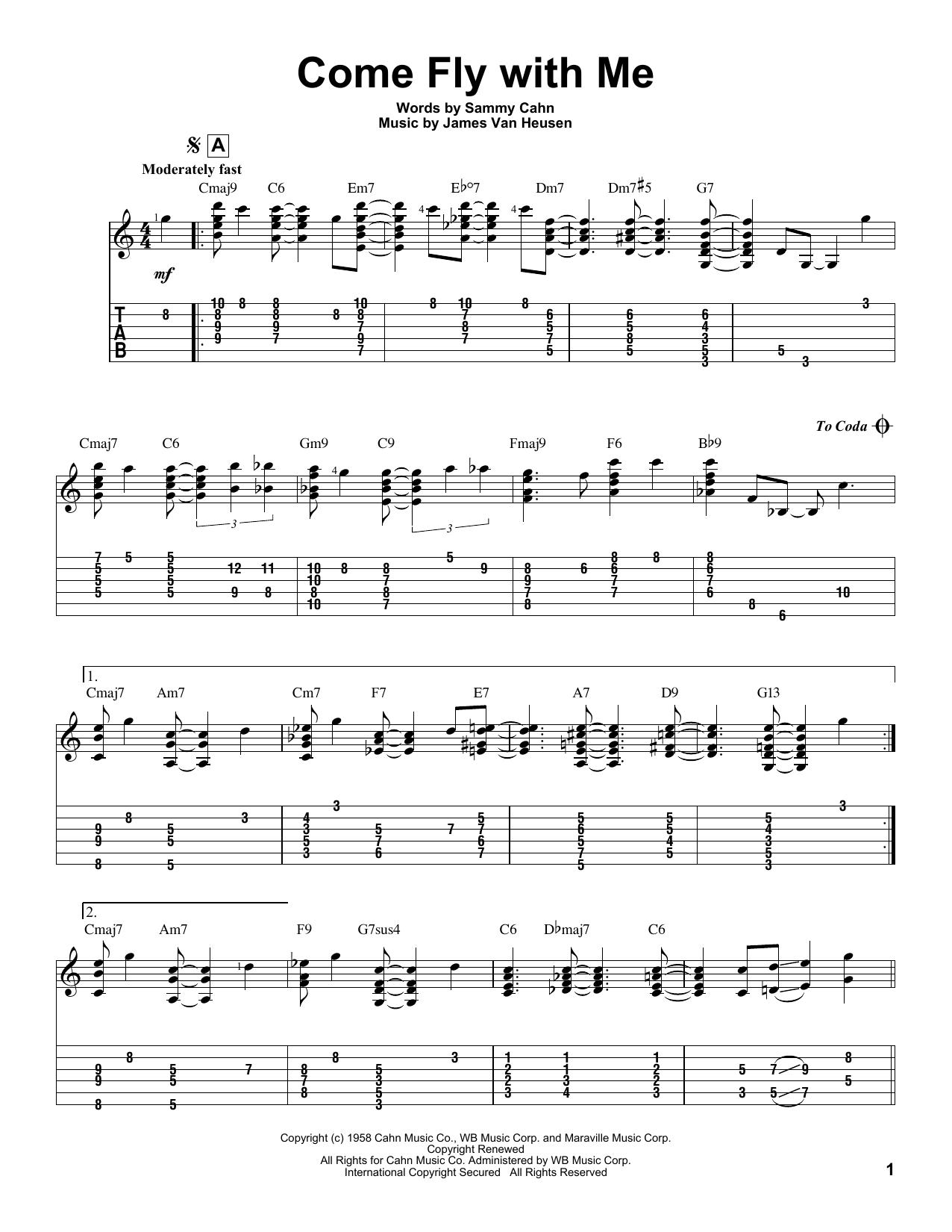 Tablature guitare Come Fly With Me de Frank Sinatra - Tablature Guitare